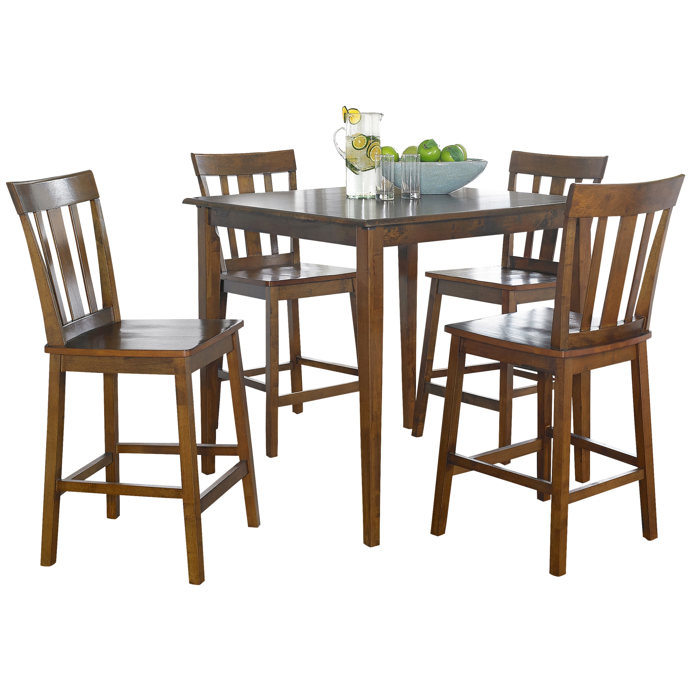 Mainstays 5 Piece Mission Counter Height Dining Set – Walmart Pertaining To Newest Goodman 5 Piece Solid Wood Dining Sets (Set Of 5) (Image 16 of 20)
