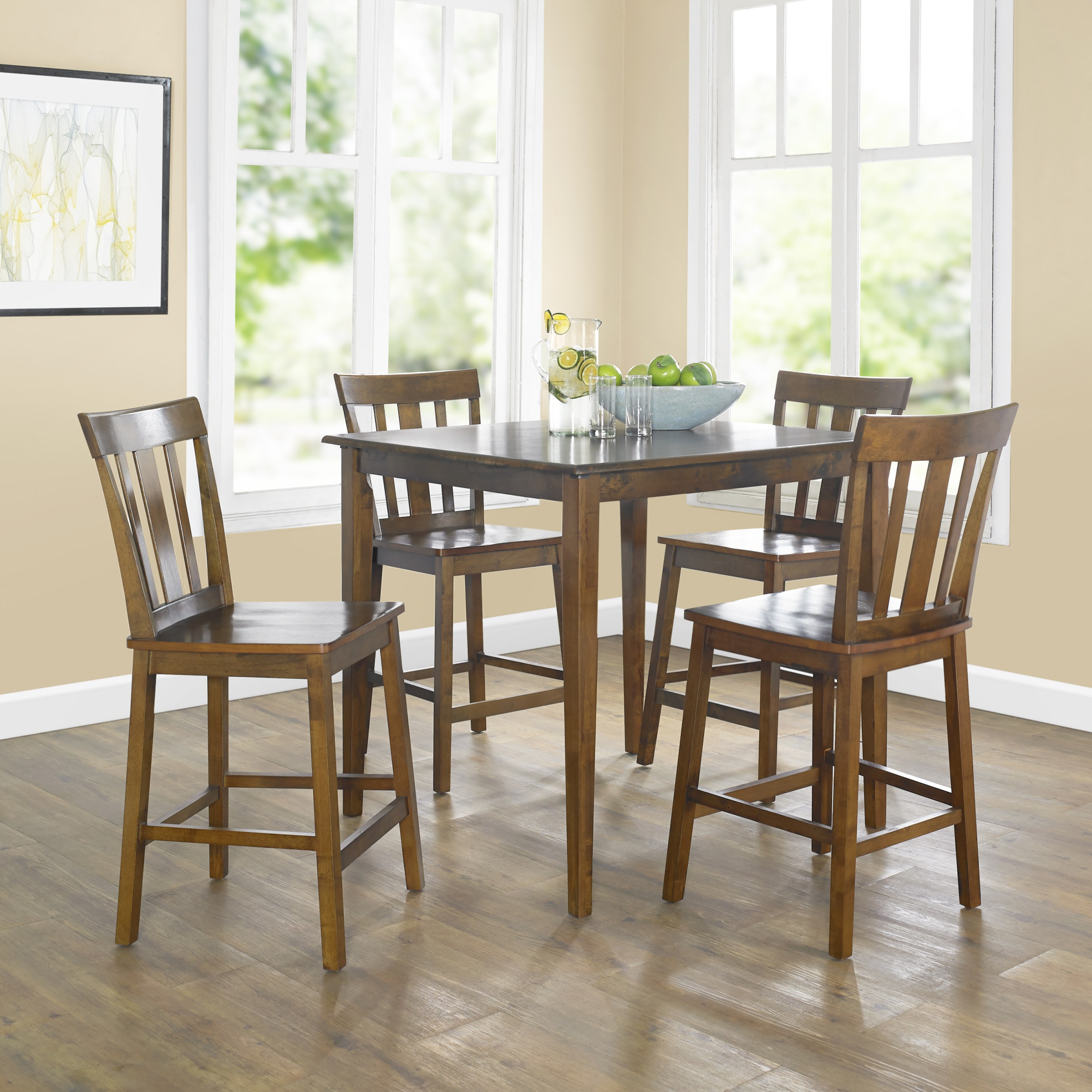 Mainstays 5 Piece Mission Counter Height Dining Set – Walmart Pertaining To Newest Goodman 5 Piece Solid Wood Dining Sets (Set Of 5) (Image 15 of 20)