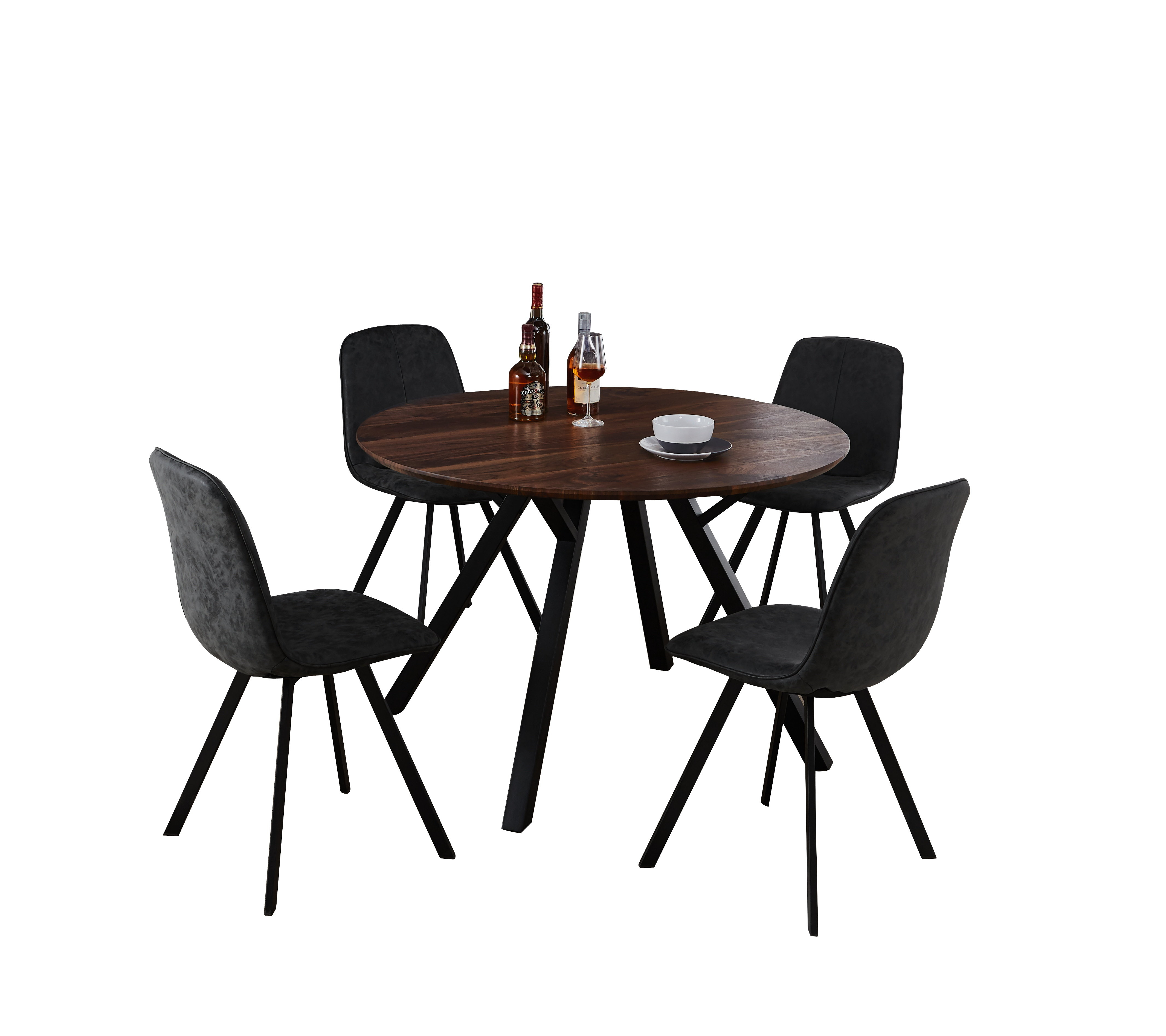 Malmo Design Round Table 5 Piece Solid Wood Dining Set Pertaining To Most Recently Released Liles 5 Piece Breakfast Nook Dining Sets (Image 15 of 20)