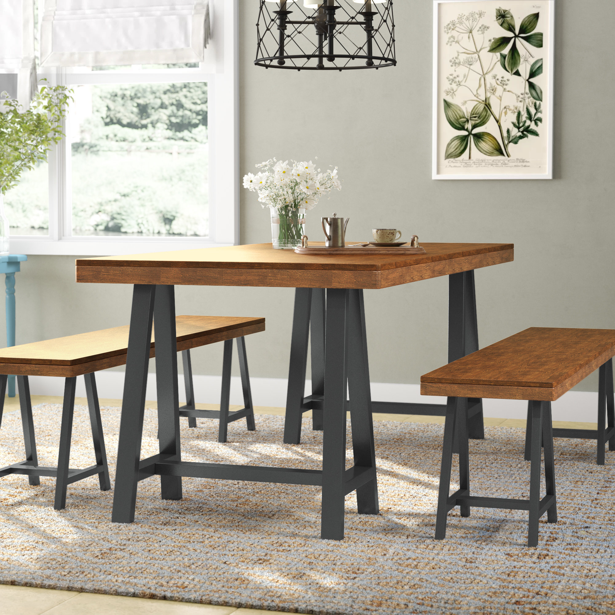 Mannino Wood Picnic 3 Piece Dining Set For Latest Kerley 4 Piece Dining Sets (Image 9 of 20)