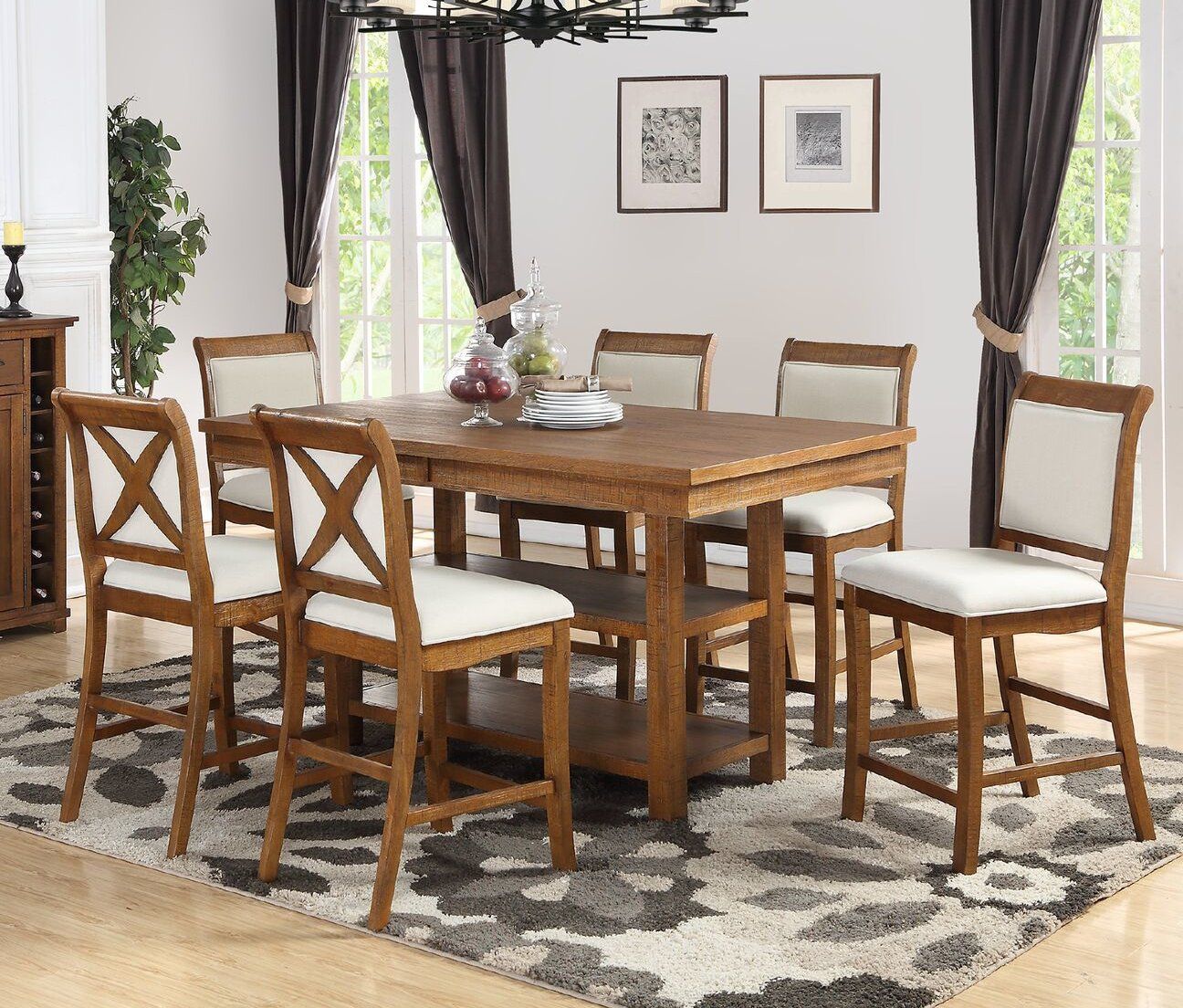 Marine Park 7 Piece Counter Height Dining Set For Newest Biggs 5 Piece Counter Height Solid Wood Dining Sets (Set Of 5) (View 7 of 20)