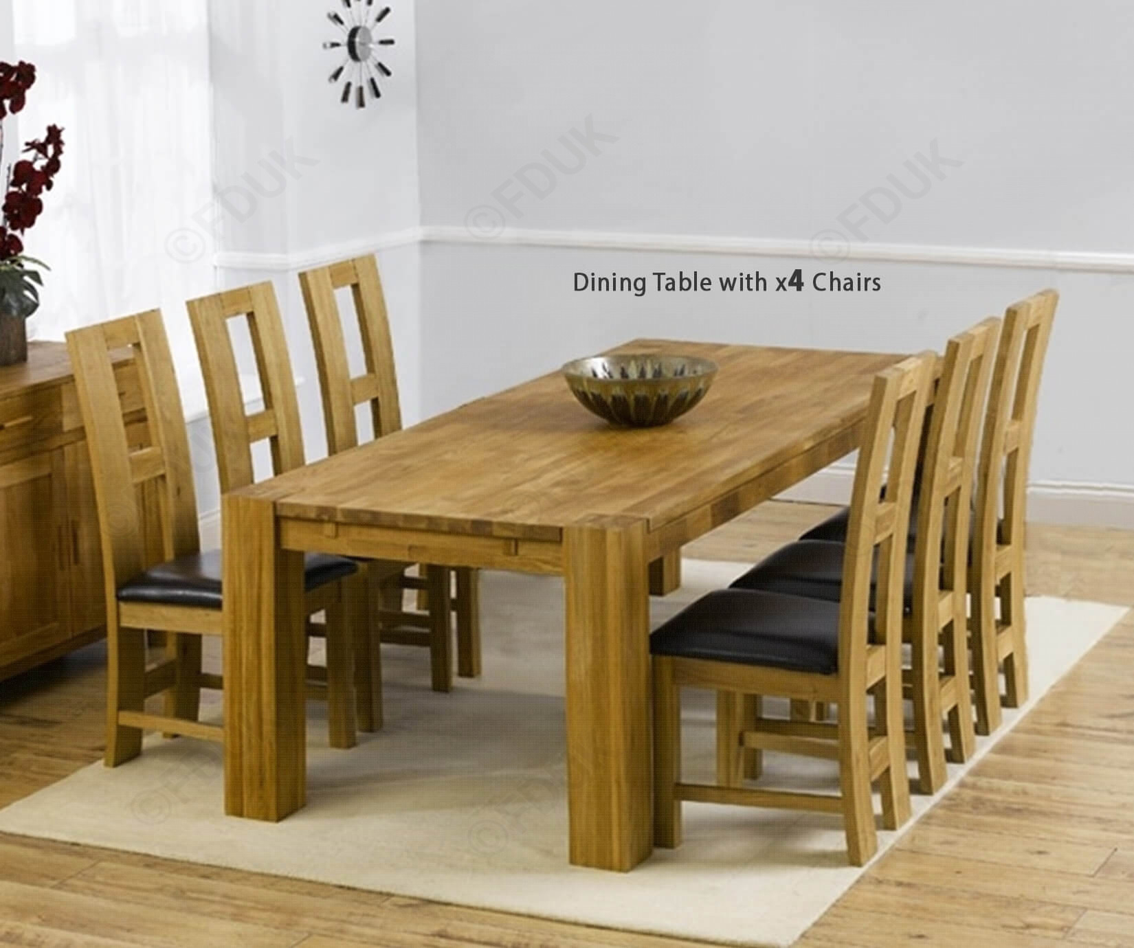 Mark Harris Madrid Solid Oak Dining Set – 200Cm Rectangular Extending With  4 John Louis Black Chairs Fduk Best Price Guarantee We Will Beat Our Within Most Recent John 4 Piece Dining Sets (Photo 4 of 20)