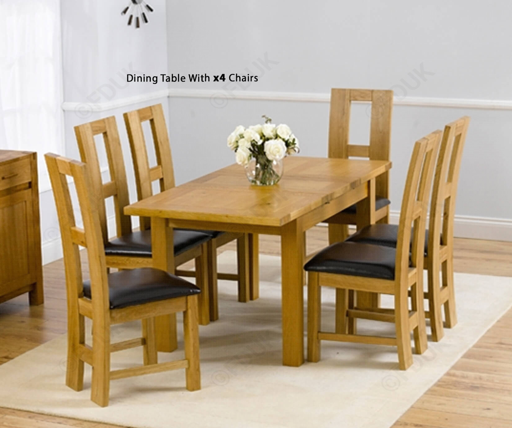 Mark Harris Rustique Solid Oak Dining Set – 120Cm Rectangular Extending  With 4 John Louis Brown Chairs Fduk Best Price Guarantee We Will Beat Our Inside Current John 4 Piece Dining Sets (Image 17 of 20)