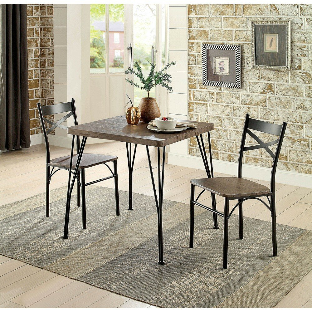 Marquez Transitional 3 Piece Solid Wood Dining Set With Recent Isolde 3 Piece Dining Sets (Photo 10 of 20)