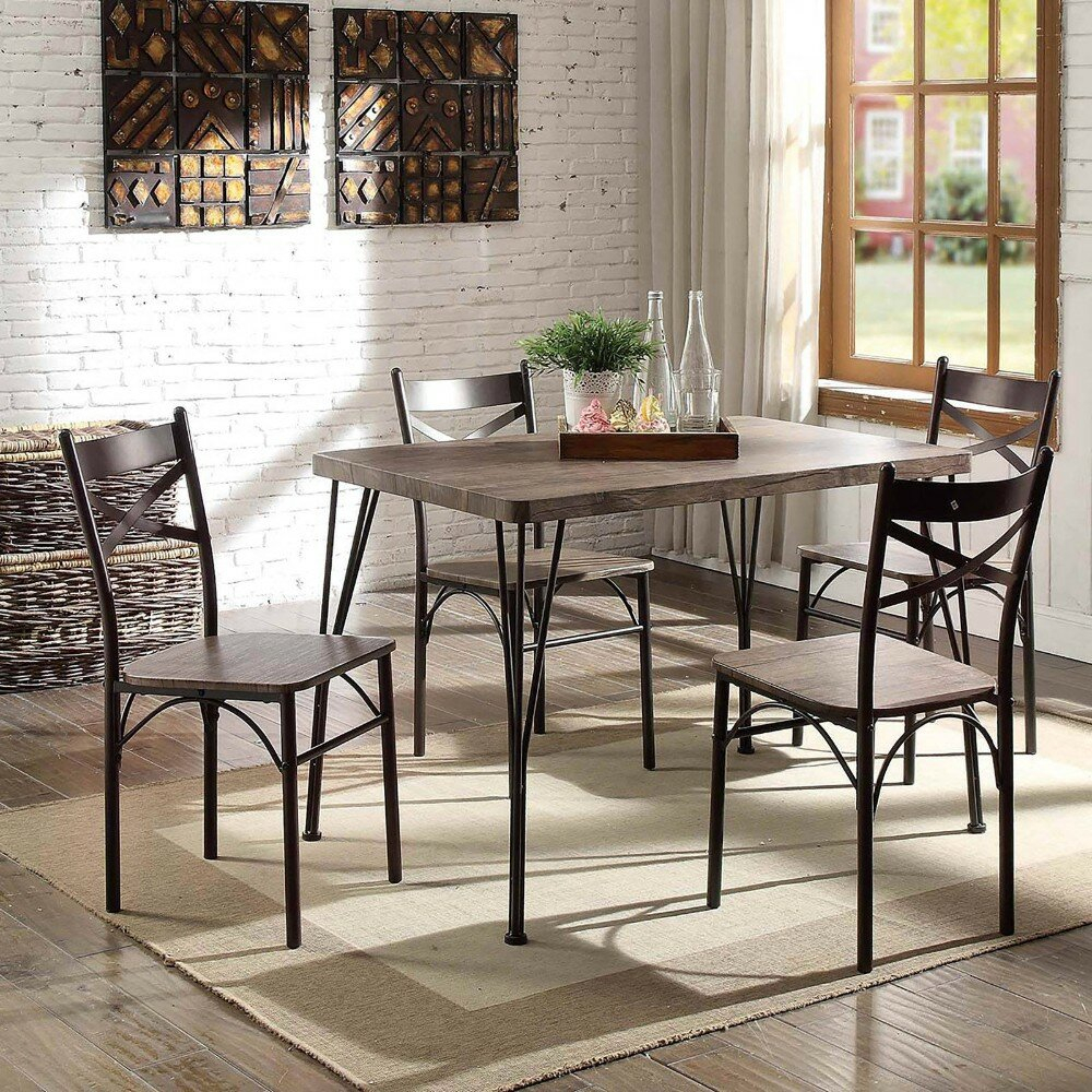 Marquez Transitional 5 Piece Solid Wood Dining Set Pertaining To 2017 Mulvey 5 Piece Dining Sets (Image 13 of 20)