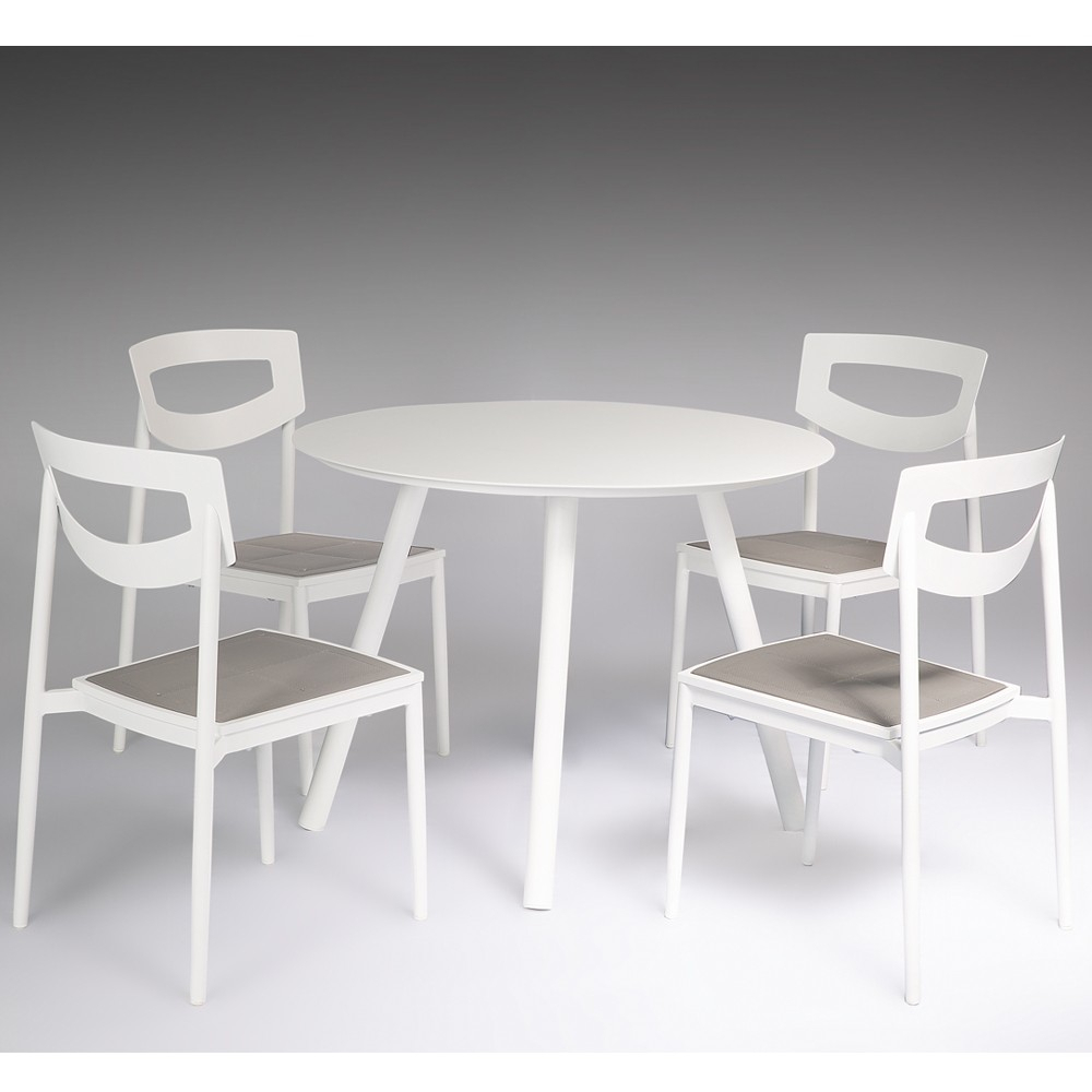 Maui 5 Piece Aluminium Dining Set With Side Chairs Within Current Aria 5 Piece Dining Sets (View 13 of 20)