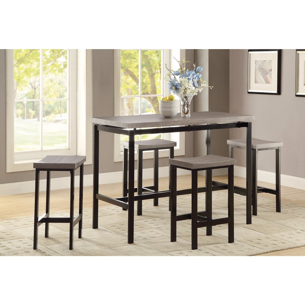 Mccreery 5 Piece Counter Height Dining Set In Most Popular Kernville 3 Piece Counter Height Dining Sets (Image 11 of 20)