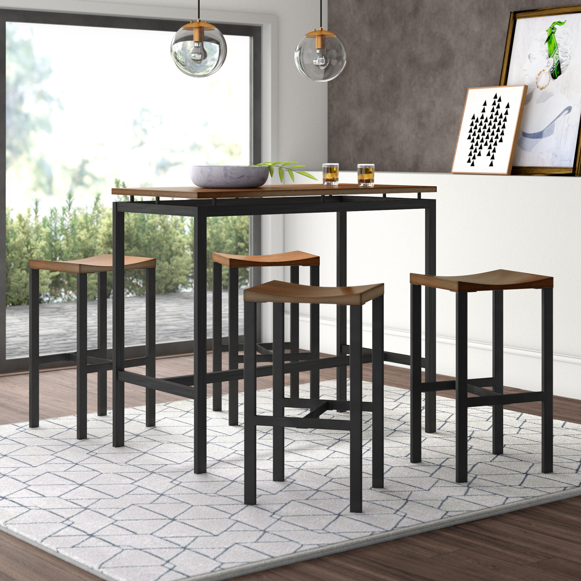 Mcgonigal 5 Piece Pub Table Set Pertaining To Current Anette 3 Piece Counter Height Dining Sets (Photo 8 of 20)