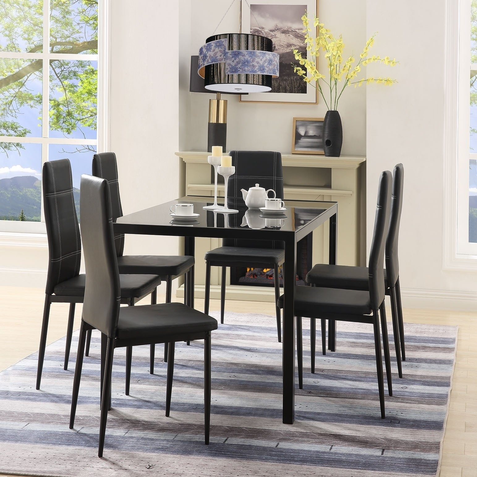 Merax 7 Piece Dining Set Glass Top Metal Table 6 Person Table And Chairs Within Most Popular Maynard 5 Piece Dining Sets (Photo 13 of 20)