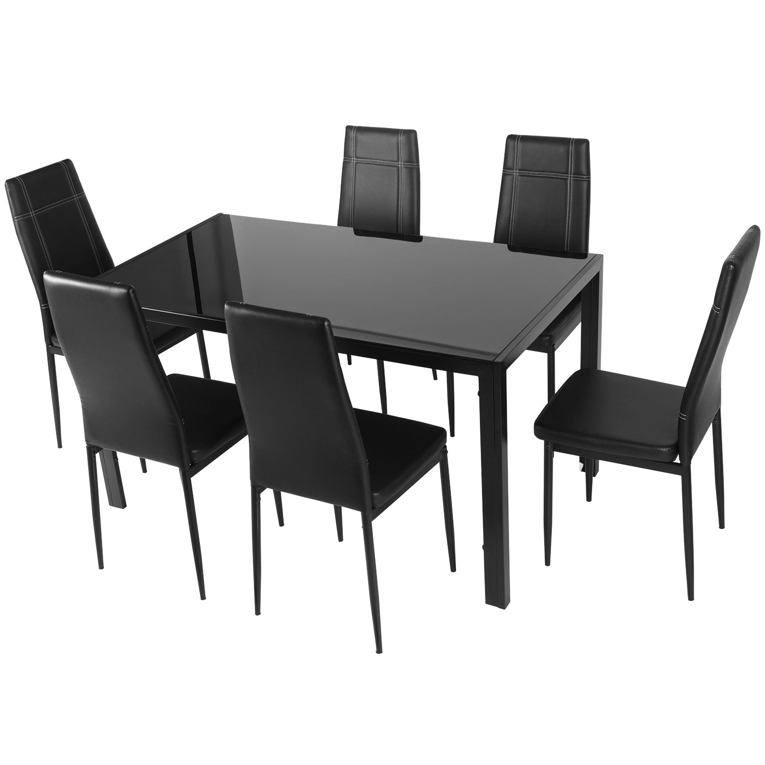 Merax Maynard 7 Piece Dining Set & Reviews | Wayfair.ca With Most Popular Linette 5 Piece Dining Table Sets (Photo 14 of 20)