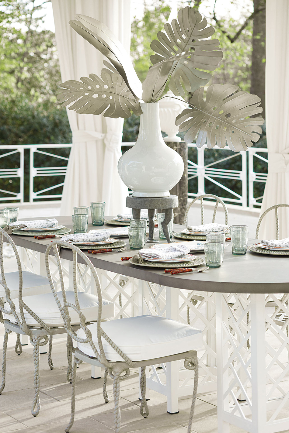 Miles Redd's Bermuda Outdoor Collection | Ballard Designs | Ballard Intended For 2017 Reinert 5 Piece Dining Sets (View 15 of 20)
