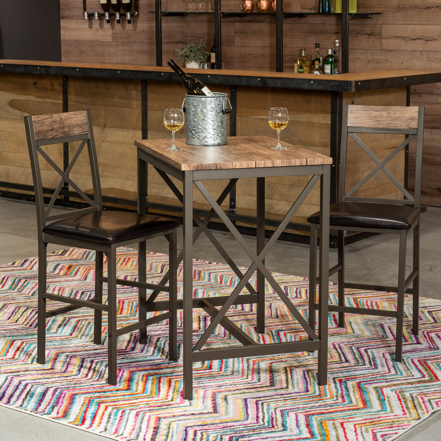 Millwood Pines Losada 3 Piece Pub Table Set With Current Wallflower 3 Piece Dining Sets (Image 9 of 20)