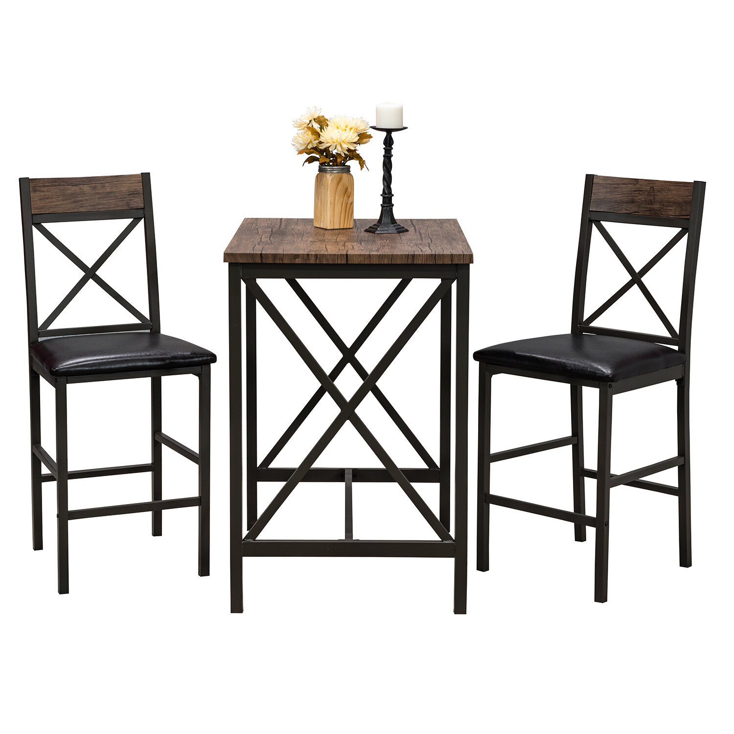 Millwood Pines Losada 3 Piece Pub Table Set Within Most Recent Wallflower 3 Piece Dining Sets (Photo 15 of 20)