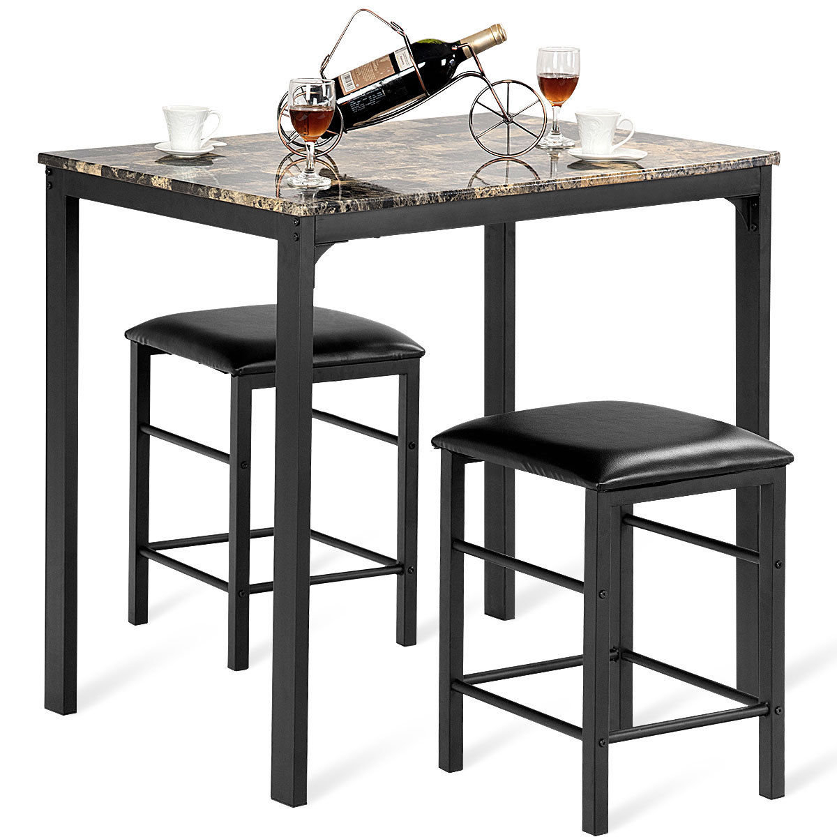 Mitzel 3 Piece Dining Set For 2017 Penelope 3 Piece Counter Height Wood Dining Sets (Photo 7 of 20)