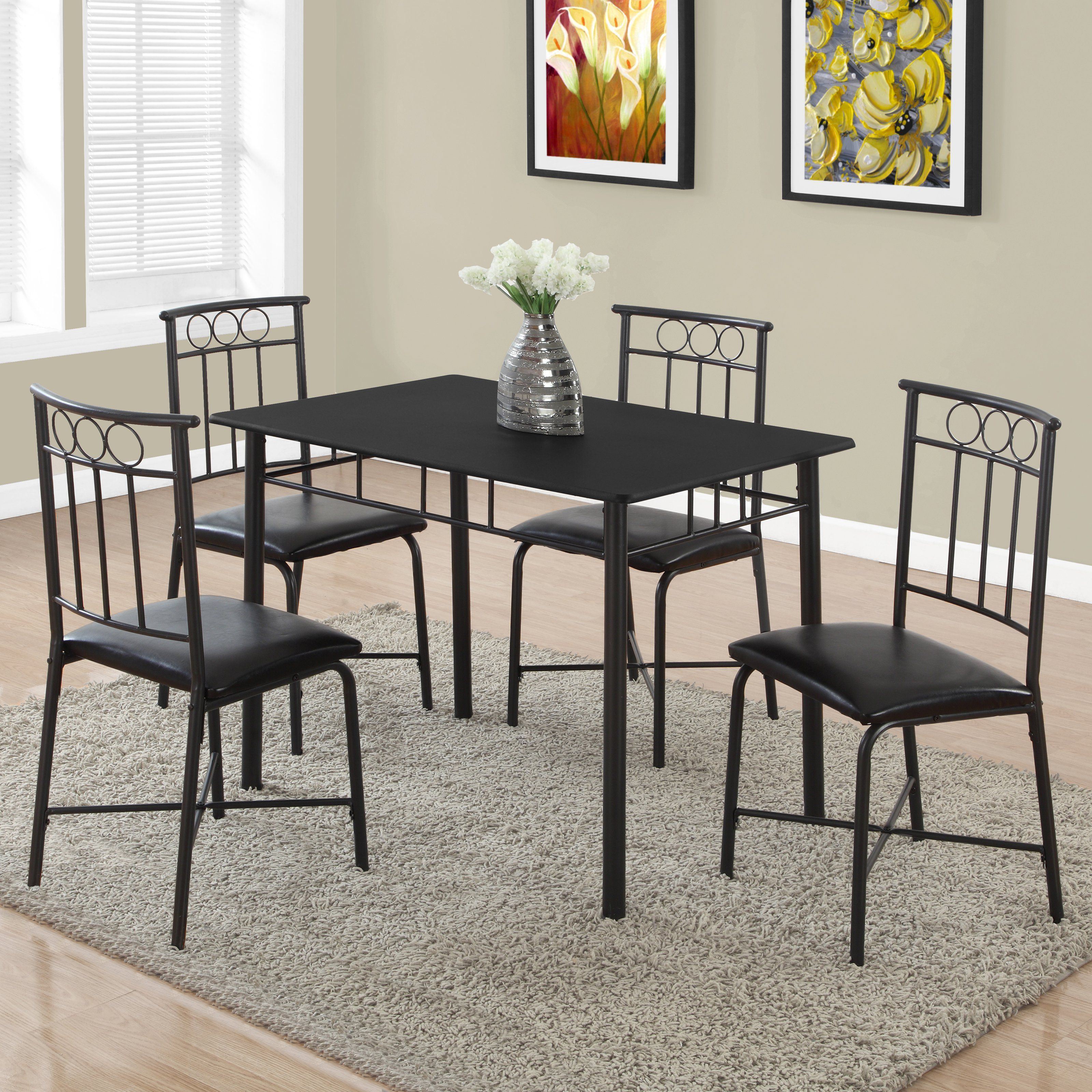Monarch Specialties Veronica 5 Piece Dining Table Set – I 1018 Throughout Best And Newest Baillie 3 Piece Dining Sets (View 14 of 20)