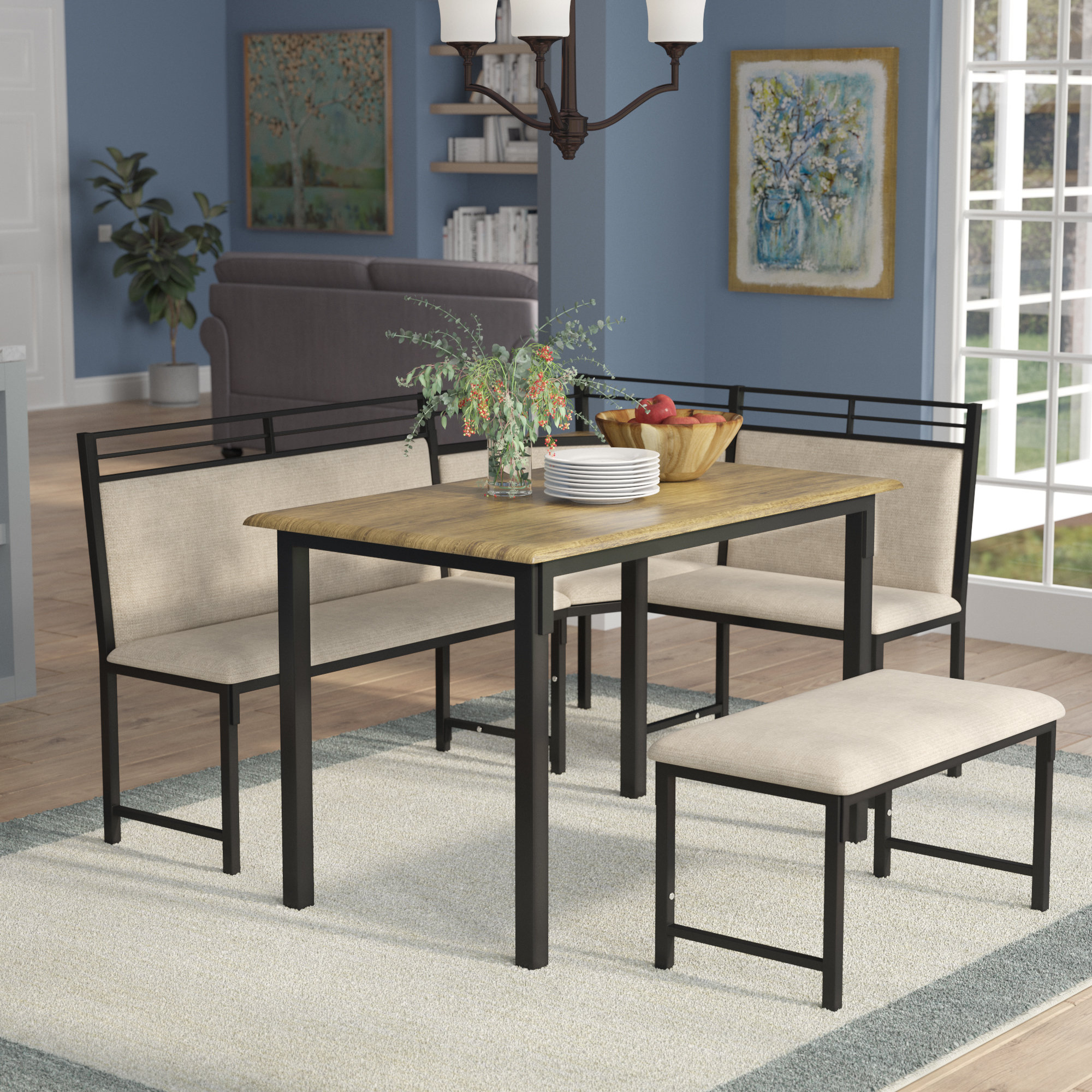 Moonachie Corner 3 Piece Dining Set Within 2018 Rossiter 3 Piece Dining Sets (Photo 11 of 20)
