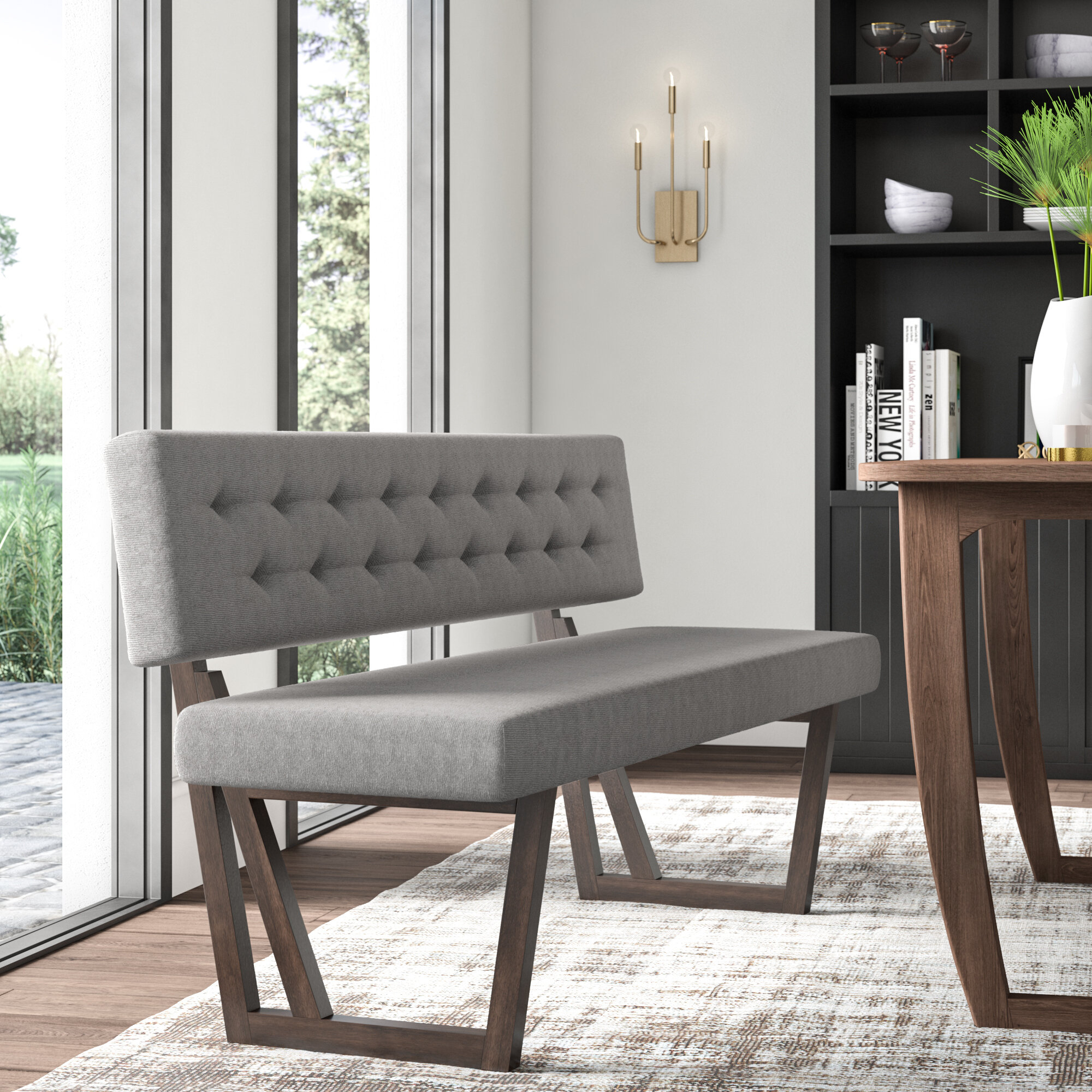 Mukai Upholstered Bench Throughout Most Recent Mukai 5 Piece Dining Sets (View 11 of 20)
