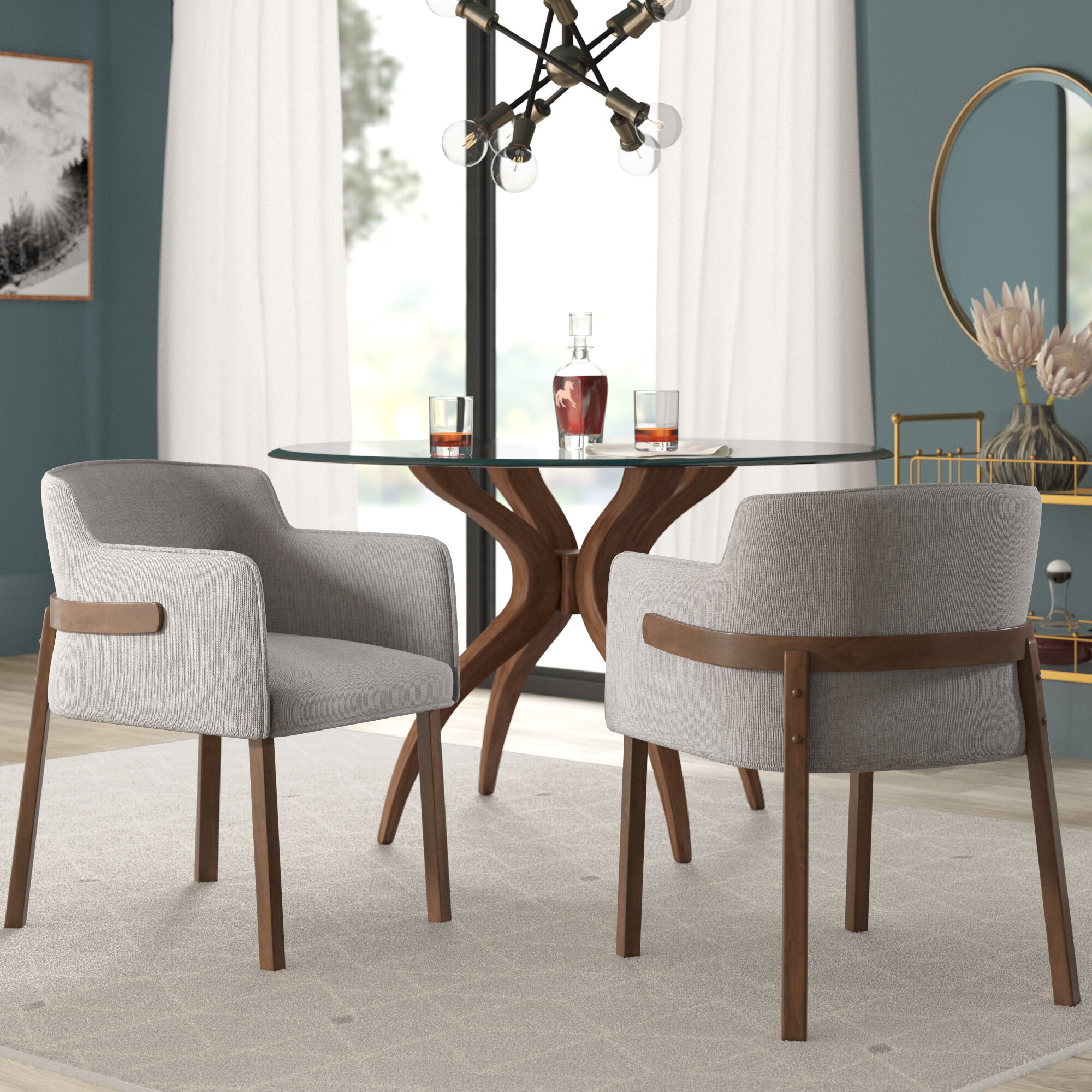 Mukai Upholstered Dining Chair Throughout Most Recently Released Mukai 5 Piece Dining Sets (View 7 of 20)