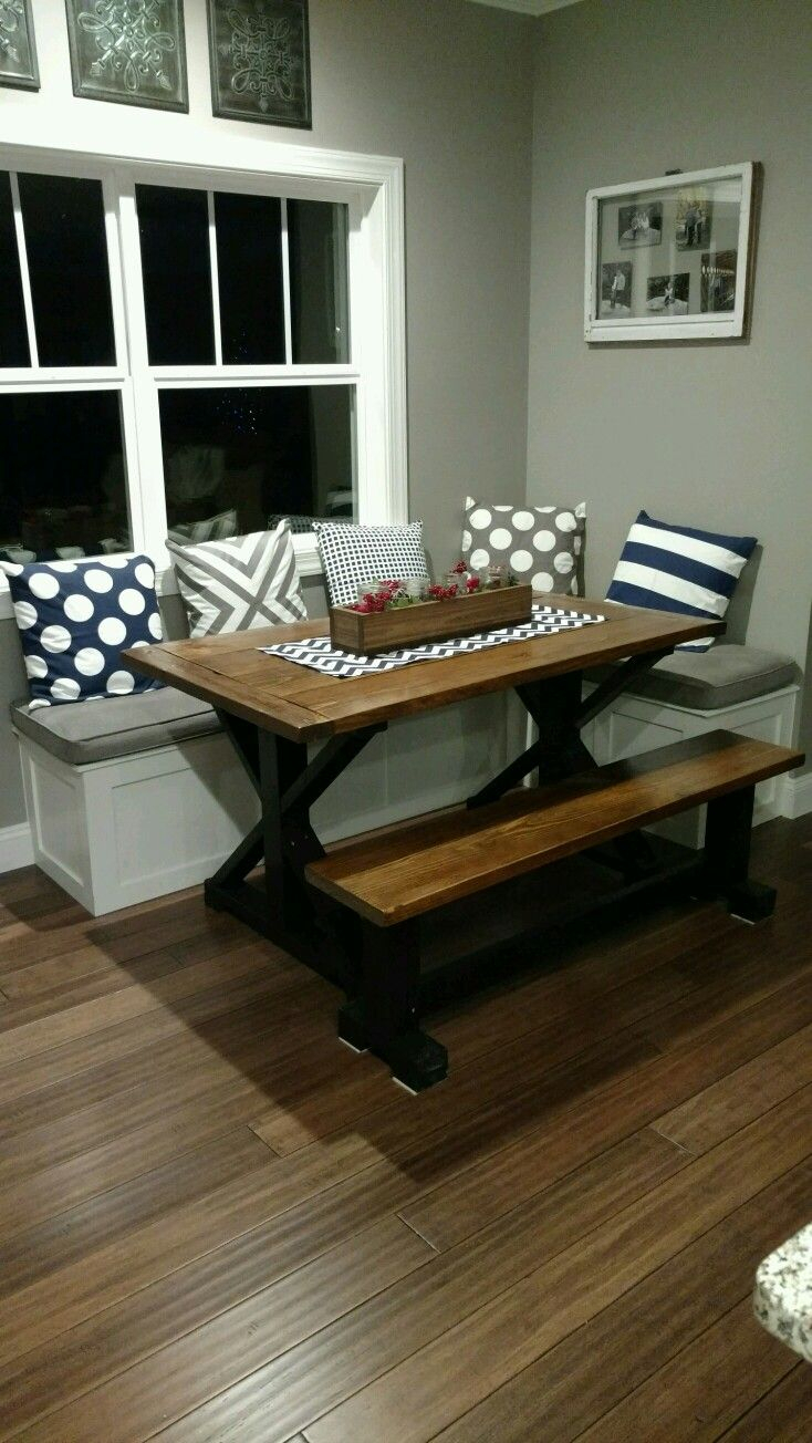 My Husband Built This Table And Bench Seating For My Nook Area. I Intended For Most Recent Liles 5 Piece Breakfast Nook Dining Sets (Photo 10 of 20)