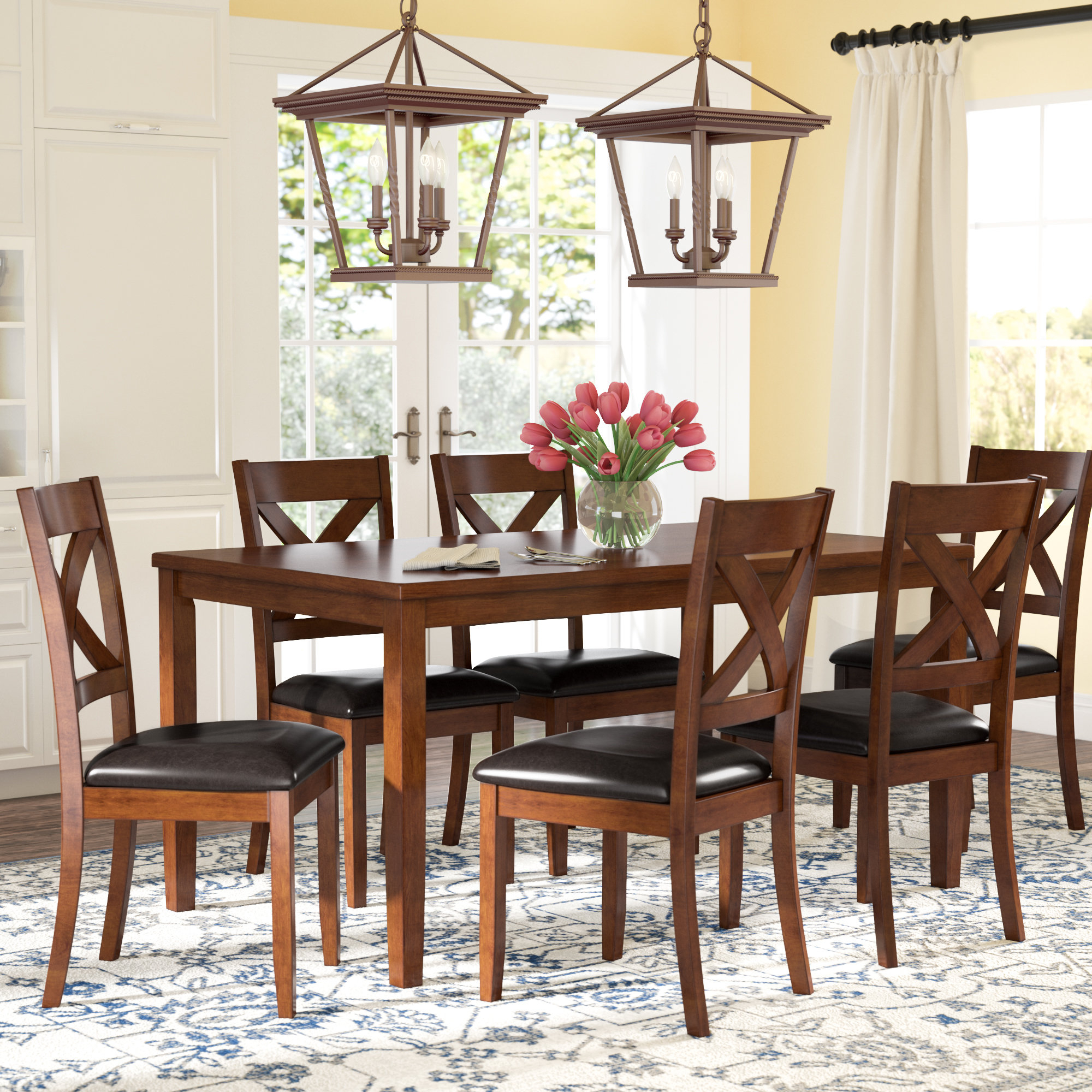 Nadine 7 Piece Dining Set Inside Latest West Hill Family Table 3 Piece Dining Sets (View 8 of 20)