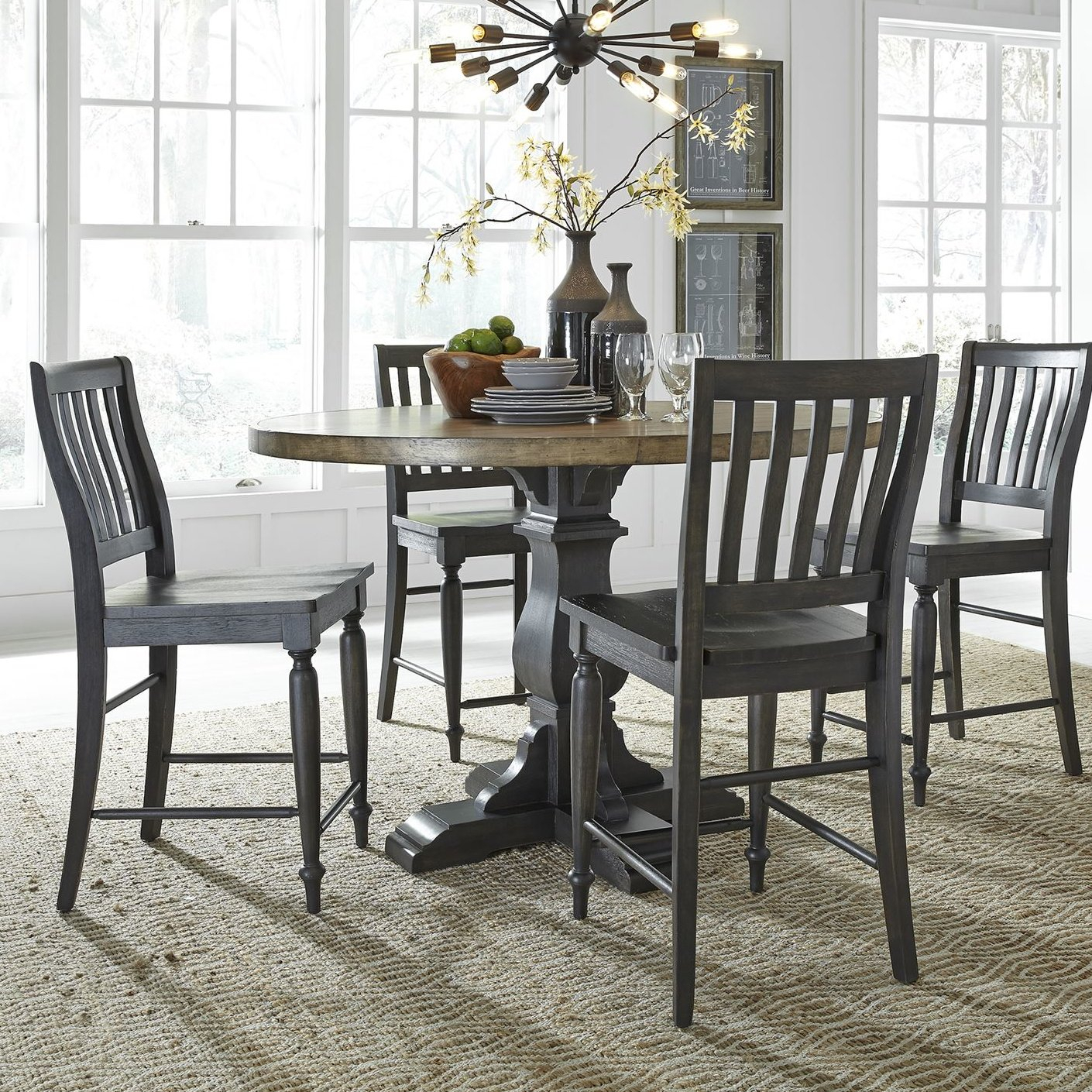 Nazareth 5 Piece Counter Height Dining Set For Latest Goodman 5 Piece Solid Wood Dining Sets (Set Of 5) (Image 17 of 20)