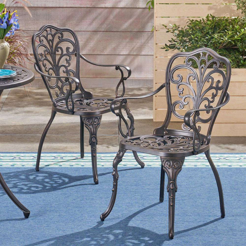 Noble House Kaya Shiny Copper Stationary Cast Aluminum Outdoor Dining Chair  (2 Pack) With Regard To Current Kaya 3 Piece Dining Sets (Image 16 of 20)