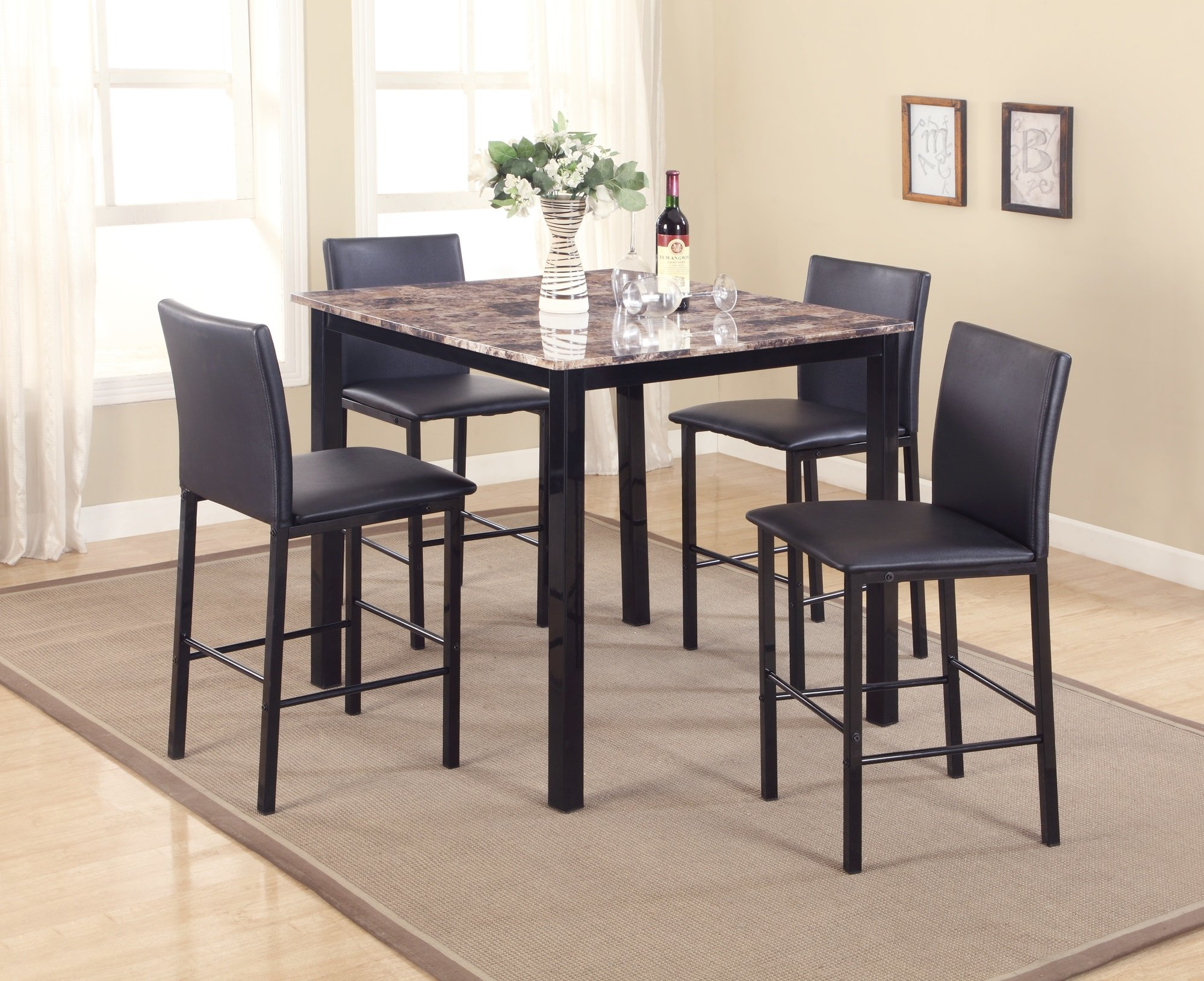Noyes 5 Piece Counter Height Dining Set For Most Up To Date Mizpah 3 Piece Counter Height Dining Sets (Photo 20 of 20)