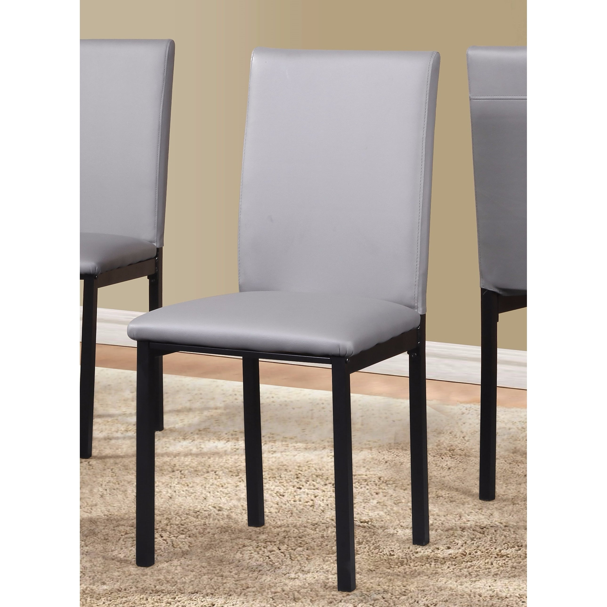 Noyes Faux Leather Seat Metal Frame Black Dining Chairs, Set Of 4 In Newest Noyes 5 Piece Dining Sets (Photo 19 of 20)