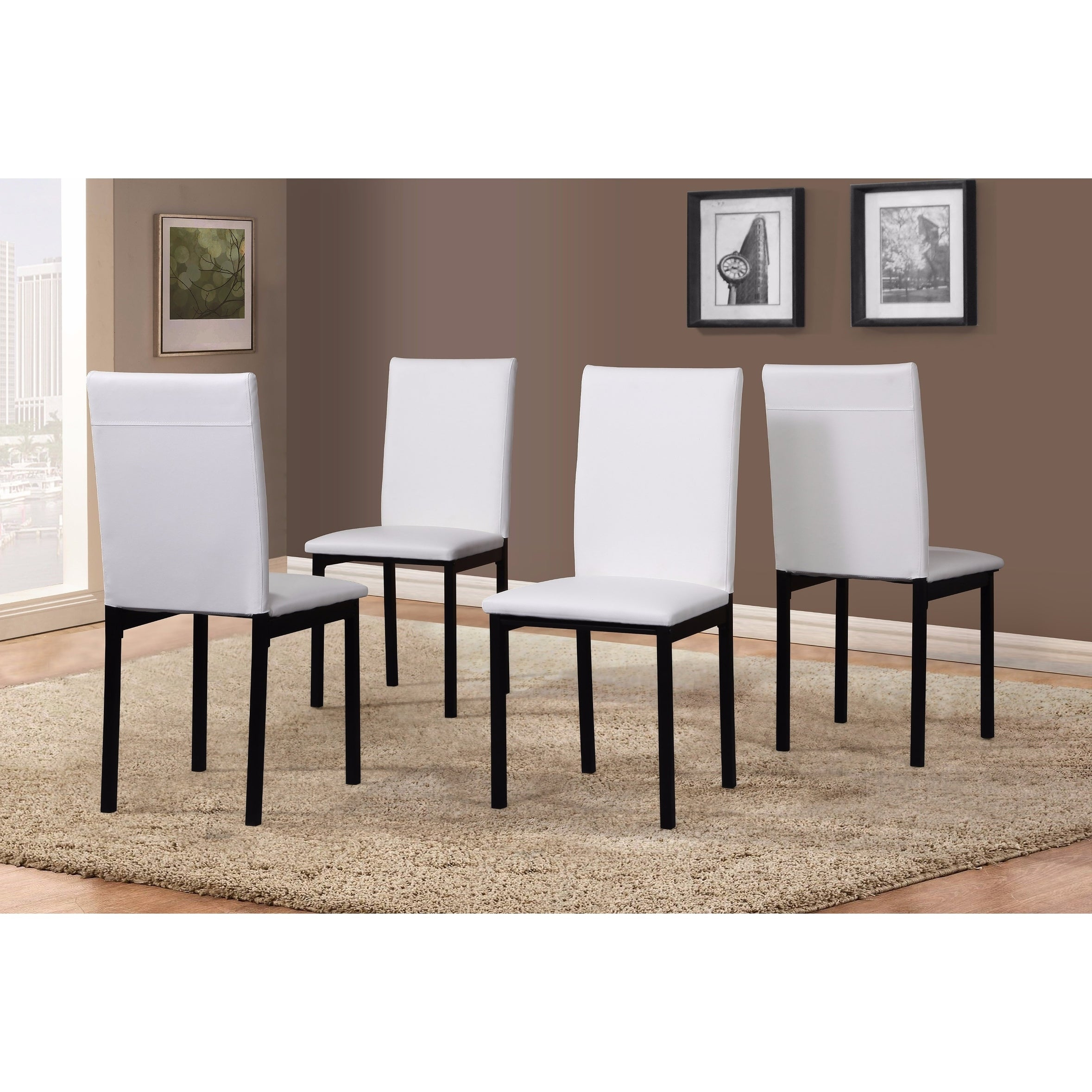 Noyes Faux Leather Seat Metal Frame Black Dining Chairs, Set Of 4 Inside Most Up To Date Noyes 5 Piece Dining Sets (View 12 of 20)