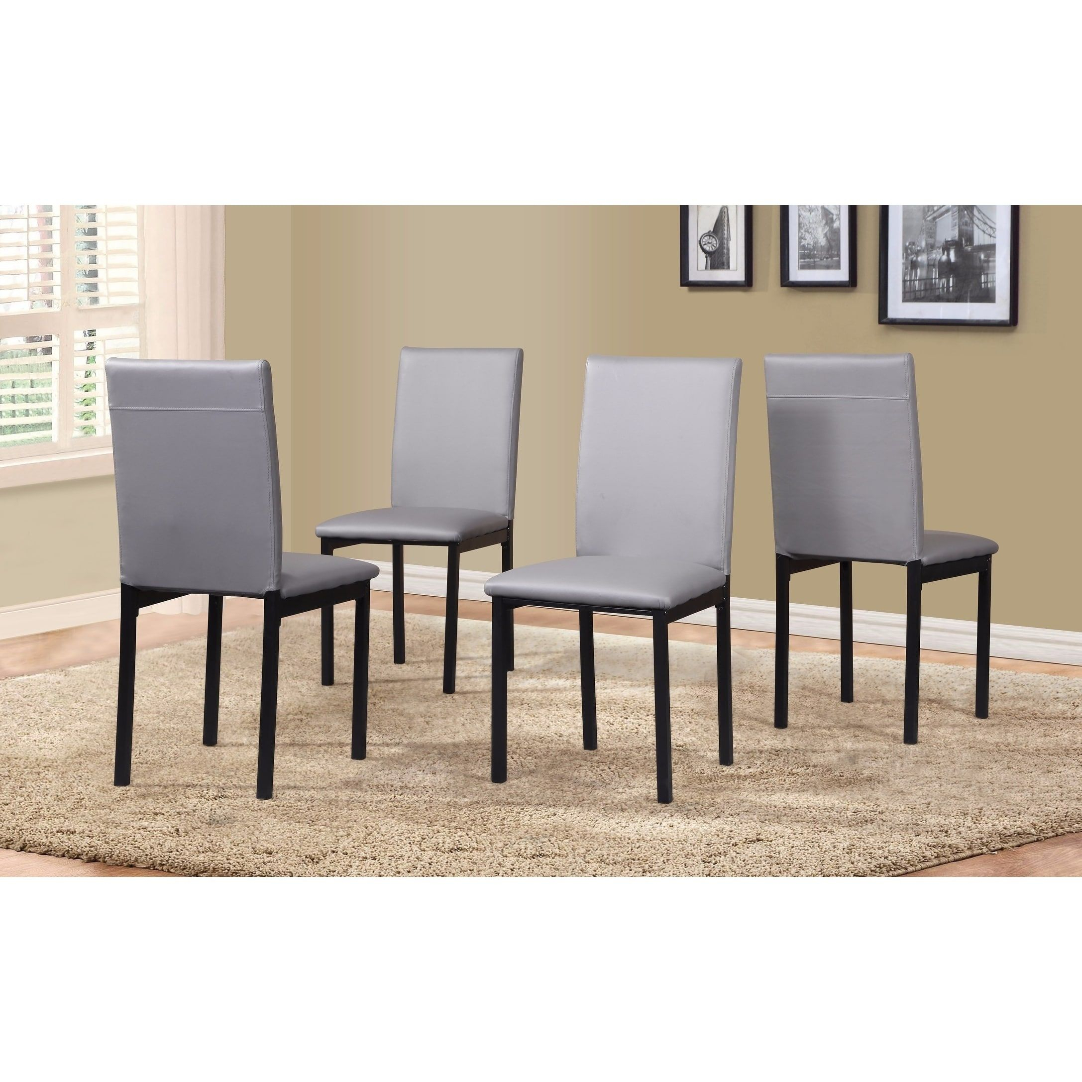 Noyes Faux Leather Seat Metal Frame Black Dining Chairs, Set Of 4 Throughout Most Recently Released Noyes 5 Piece Dining Sets (View 14 of 20)