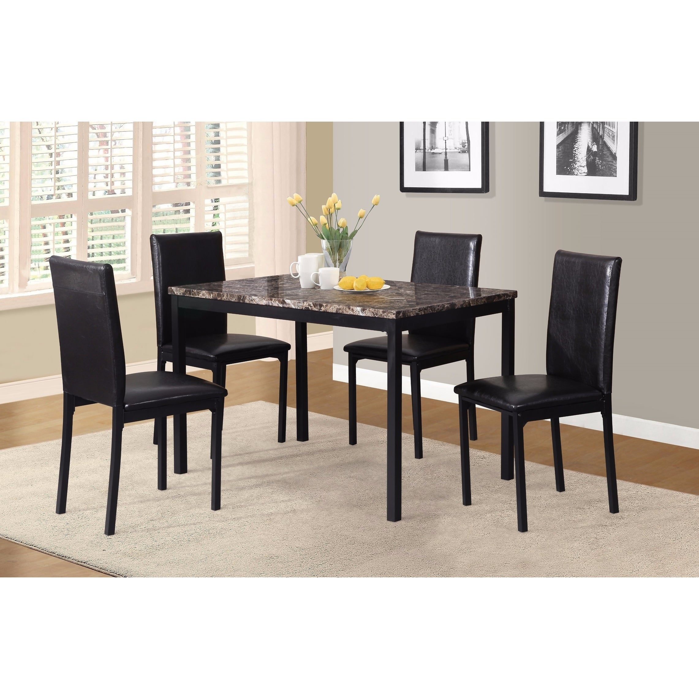 Noyes Metal Dining Table With Laminated Faux Marble Top – Black With Recent Noyes 5 Piece Dining Sets (View 7 of 20)