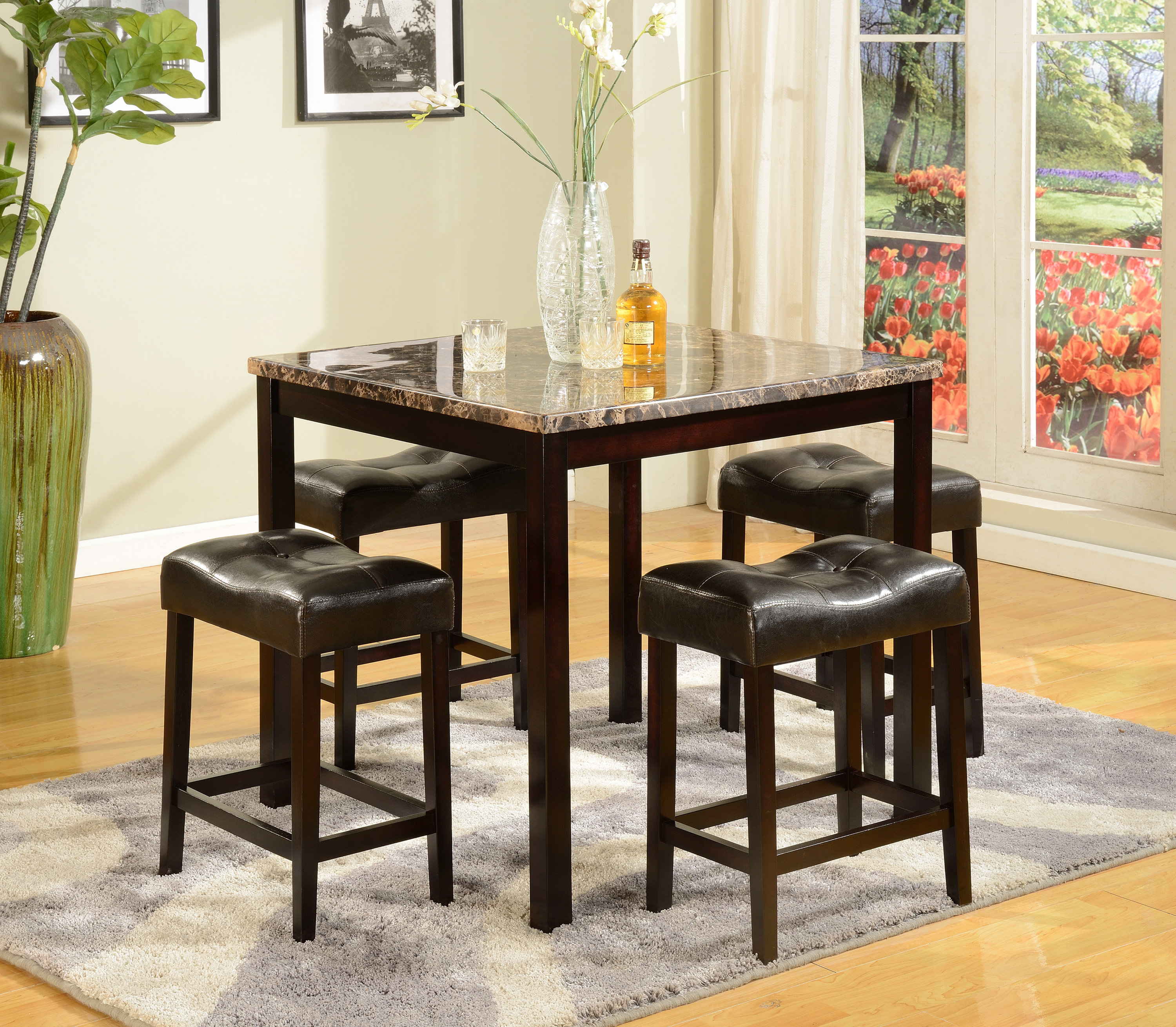 Octavia 5 Piece Counter Height Dining Set Regarding Recent Askern 3 Piece Counter Height Dining Sets (Set Of 3) (View 11 of 20)