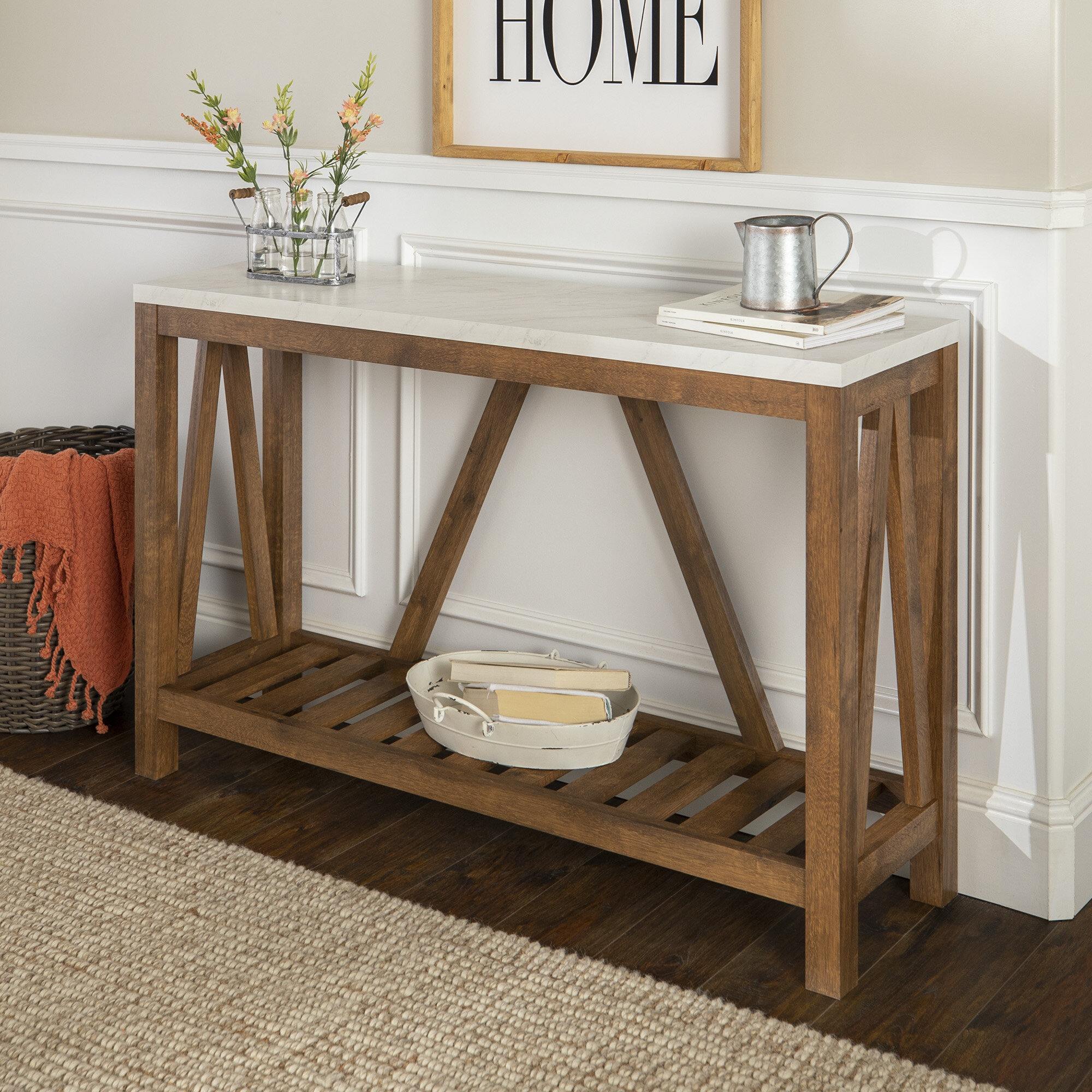 Offerman Console Table Intended For Most Recently Released Yedinak 5 Piece Solid Wood Dining Sets (View 16 of 20)