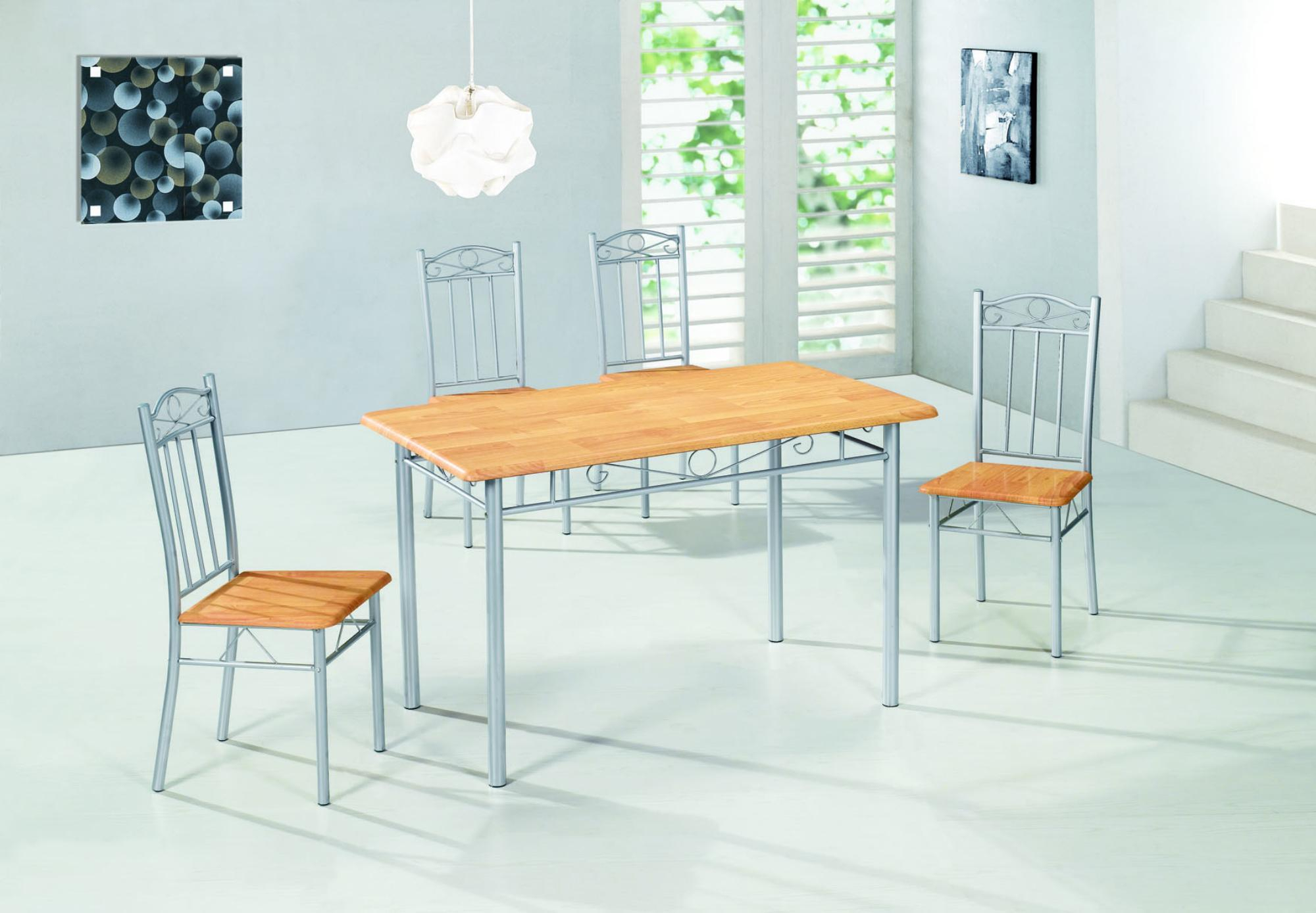 Okura Dining Table With 4 Chairs Home Living With Current Evellen 5 Piece Solid Wood Dining Sets (Set Of 5) (View 17 of 20)