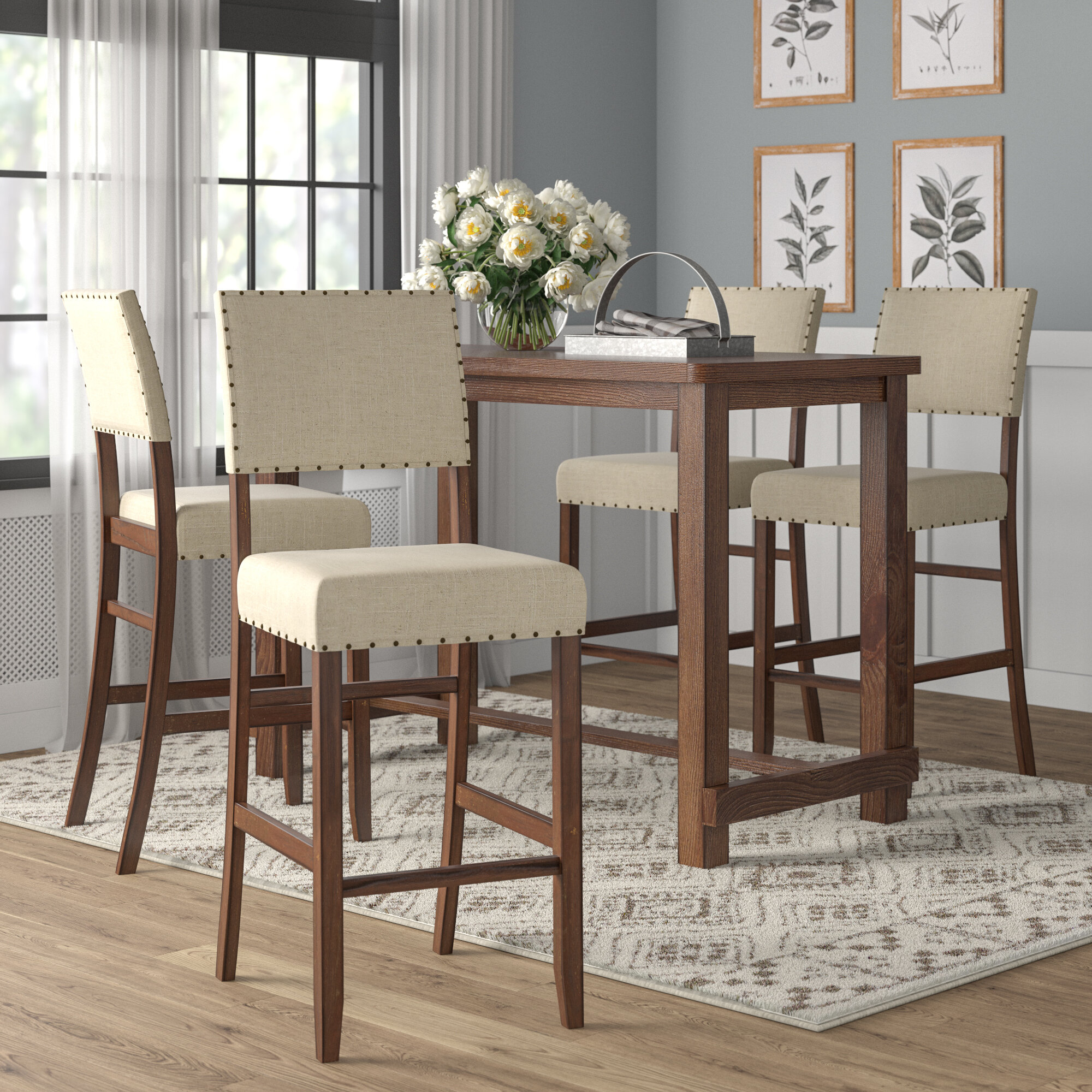 Orth 5 Piece Counter Height Dining Set With Most Popular Tavarez 5 Piece Dining Sets (Image 13 of 20)
