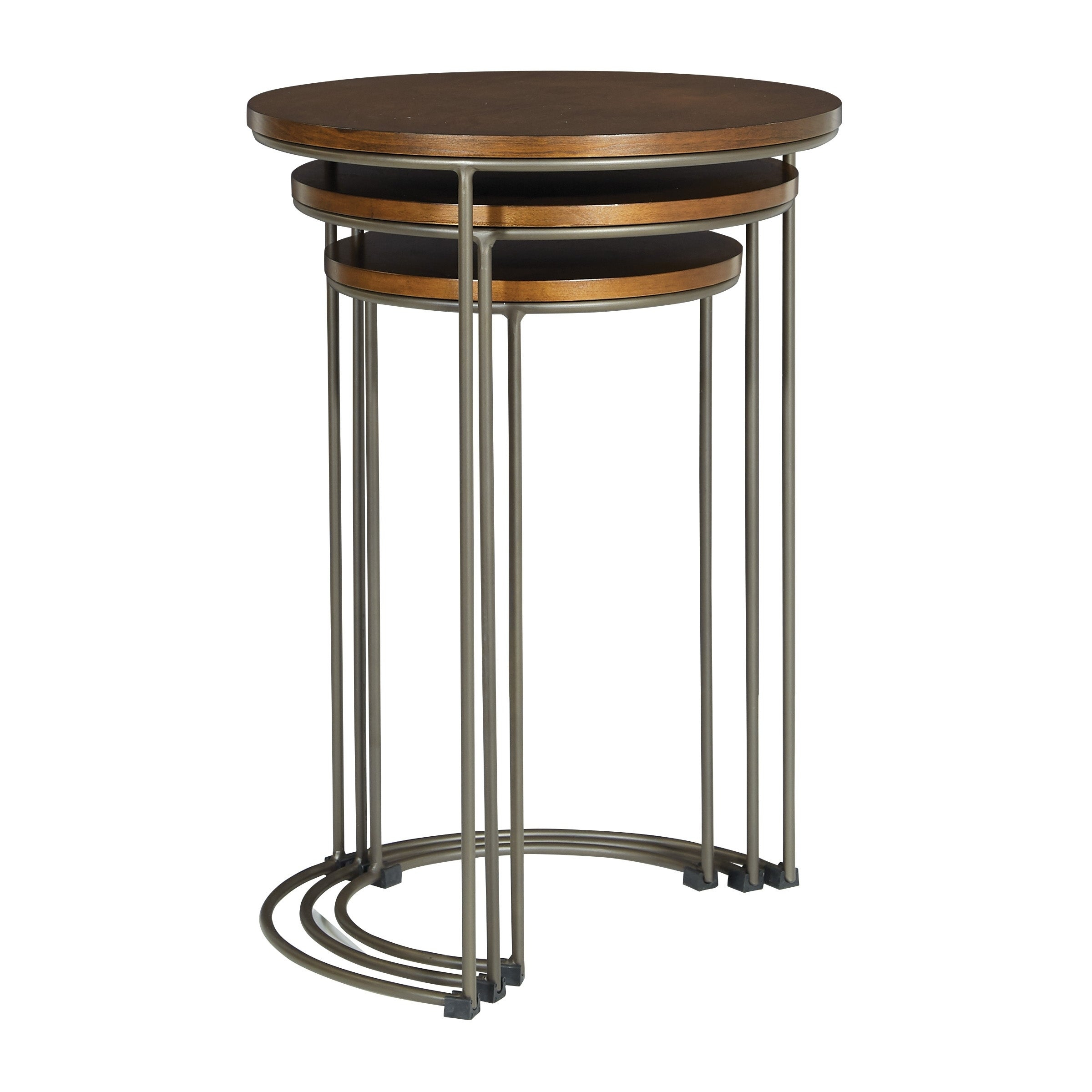 Osp Home Furnishings Sullivan 3 Piece Nesting Tables With Pewter Walnut  Finish Intended For Current Isolde 3 Piece Dining Sets (Image 17 of 20)