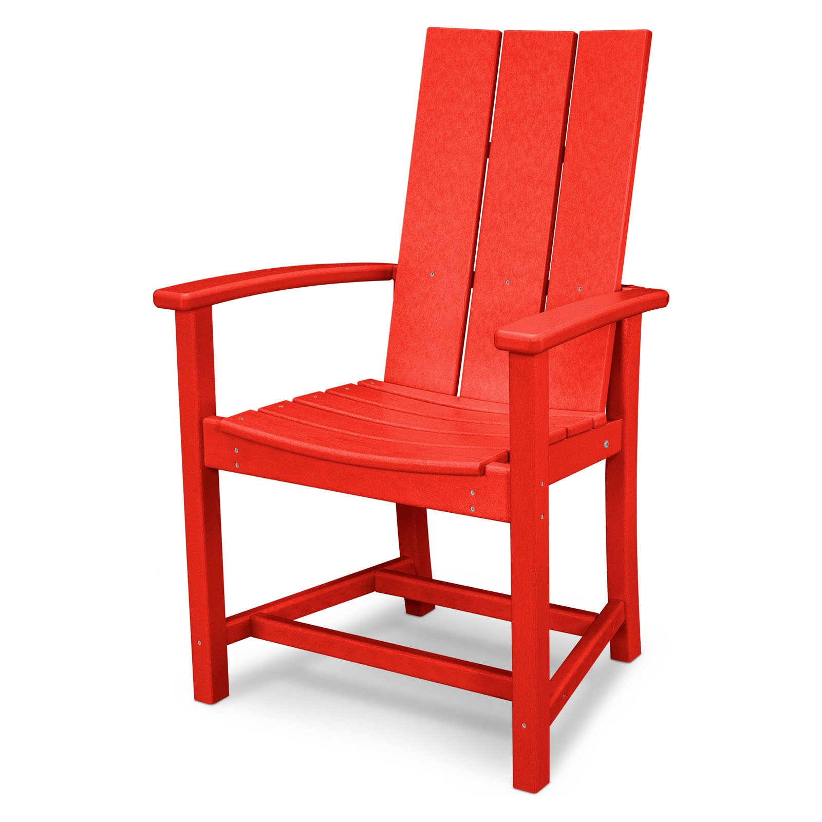 Outdoor Polywoodâ® Modern Trio Adirondack Dining Chair Sunset Red For Most Recently Released Saintcroix 3 Piece Dining Sets (View 20 of 20)