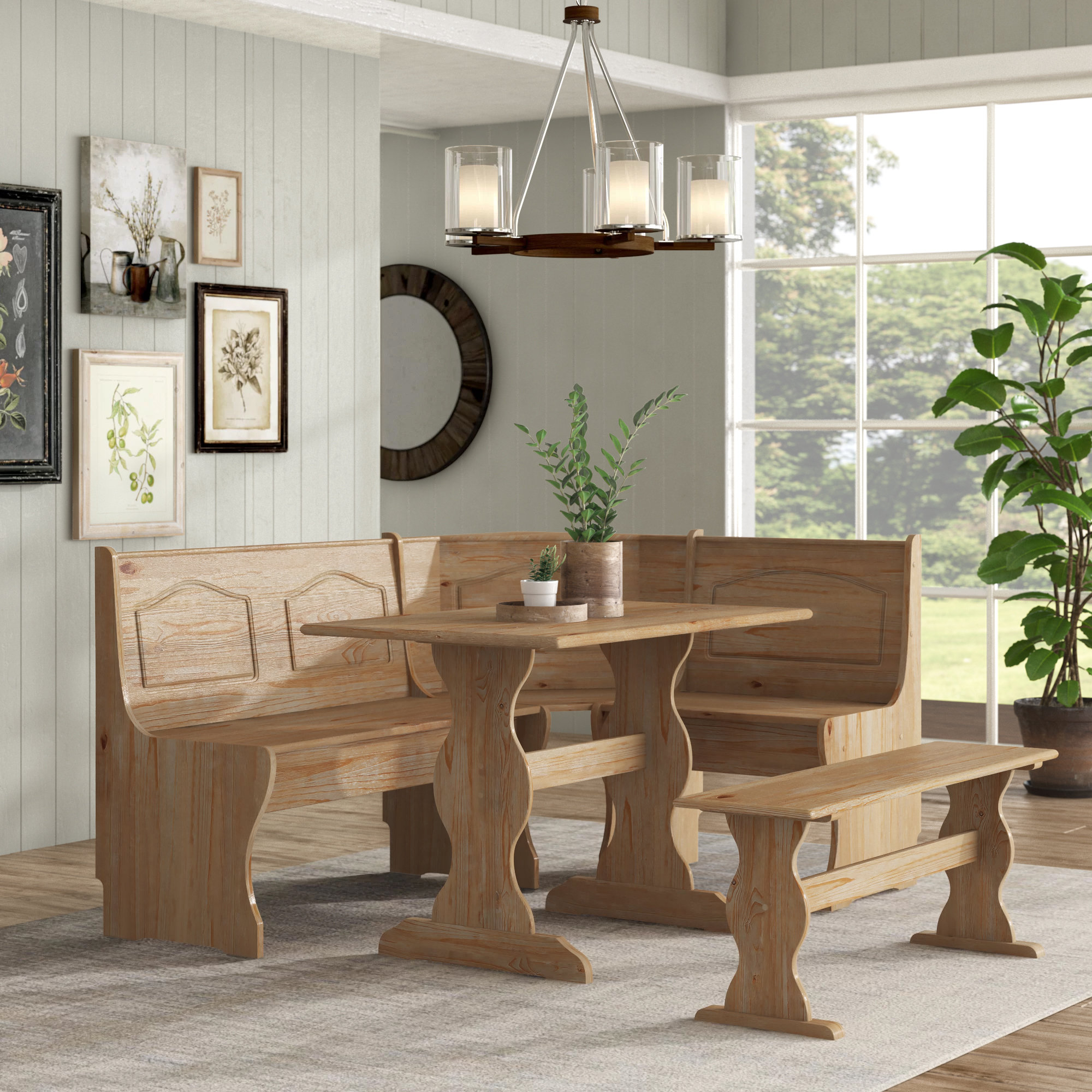 Padstow 3 Piece Breakfast Nook Dining Set Pertaining To Most Recently Released 3 Piece Breakfast Nook Dinning Set (Photo 7 of 20)