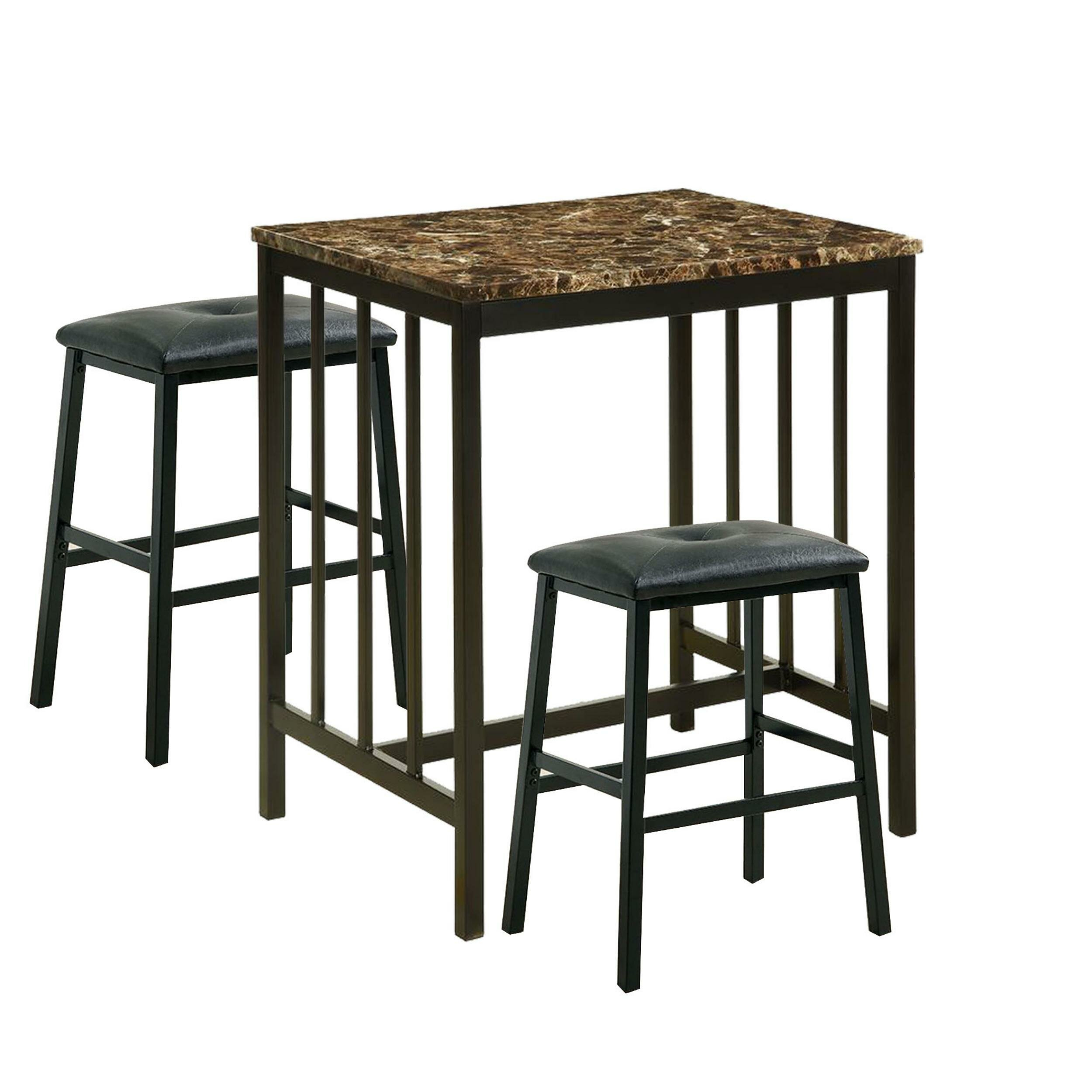 Parton 3 Piece Pub Table Set With Regard To 2017 Kernville 3 Piece Counter Height Dining Sets (Image 13 of 20)