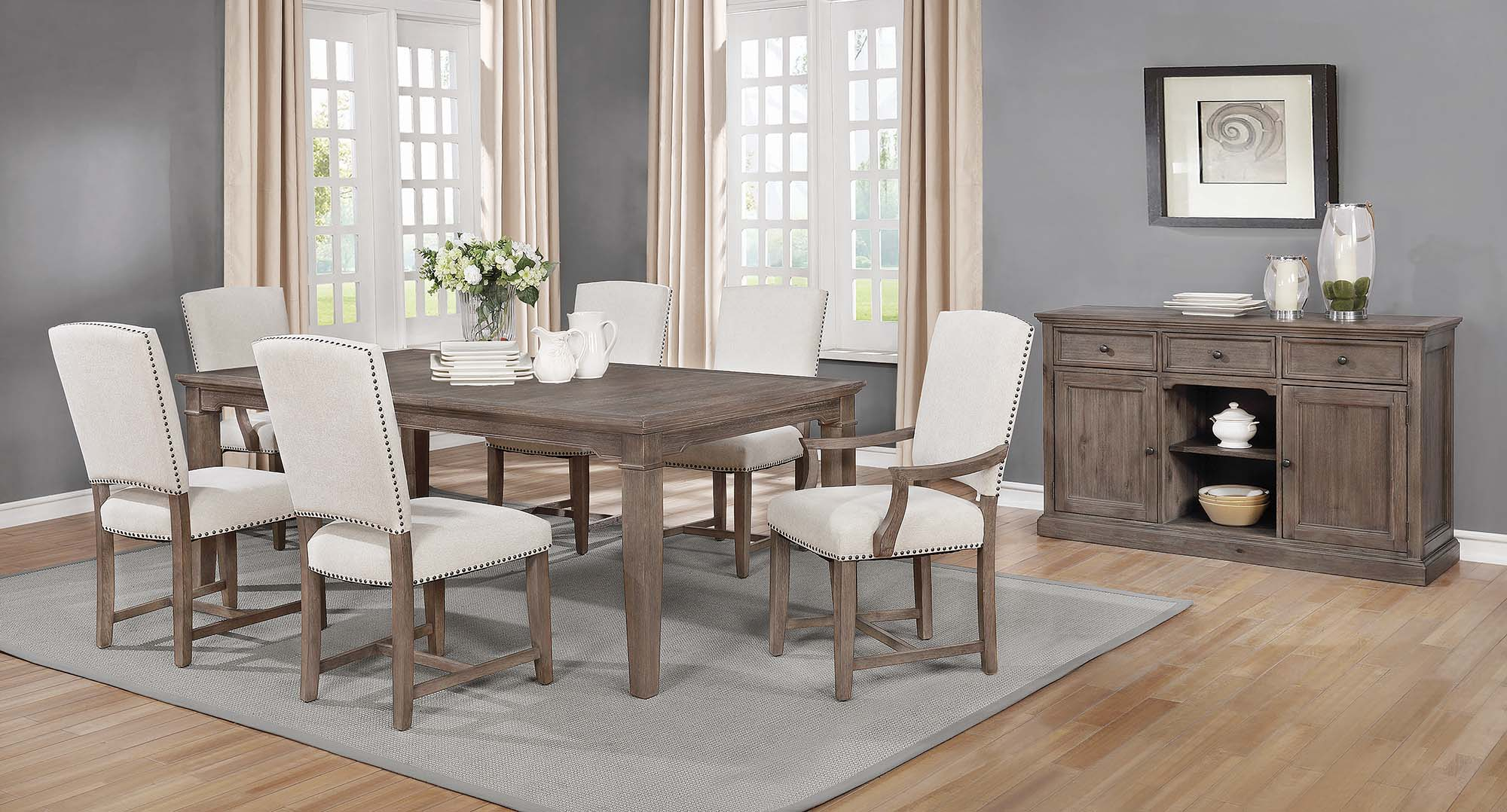 Penelope 7 Piece Dining Set Island Khaki And Rice Grey Intended For 2017 Penelope 3 Piece Counter Height Wood Dining Sets (Photo 16 of 20)