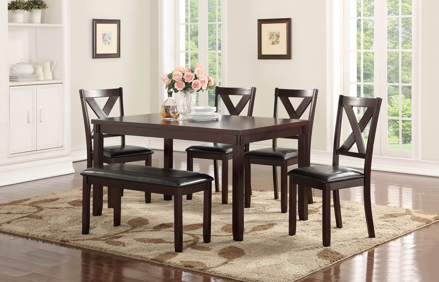 Penelope Collection 6 Pc Dining Set With Bench | Orange County, Ca With Regard To Most Recently Released Penelope 3 Piece Counter Height Wood Dining Sets (View 13 of 20)