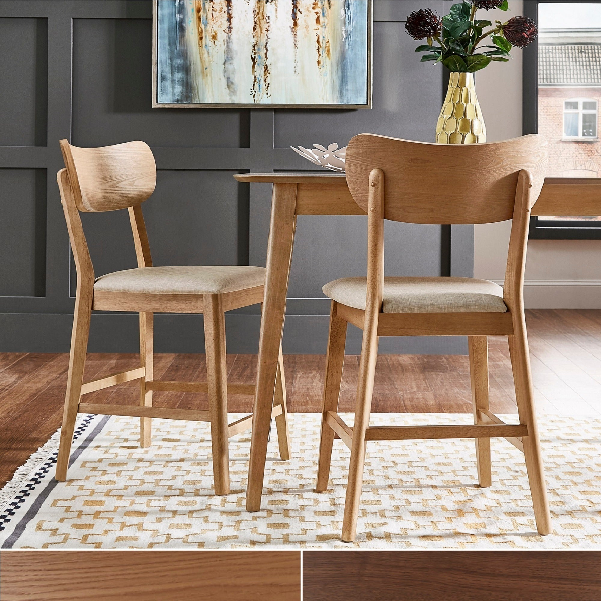 Penelope Danish Modern Tapered Leg Counter Height Chair (Set Of 2) Inspire Q Modern With Regard To Most Current Penelope 3 Piece Counter Height Wood Dining Sets (View 2 of 20)