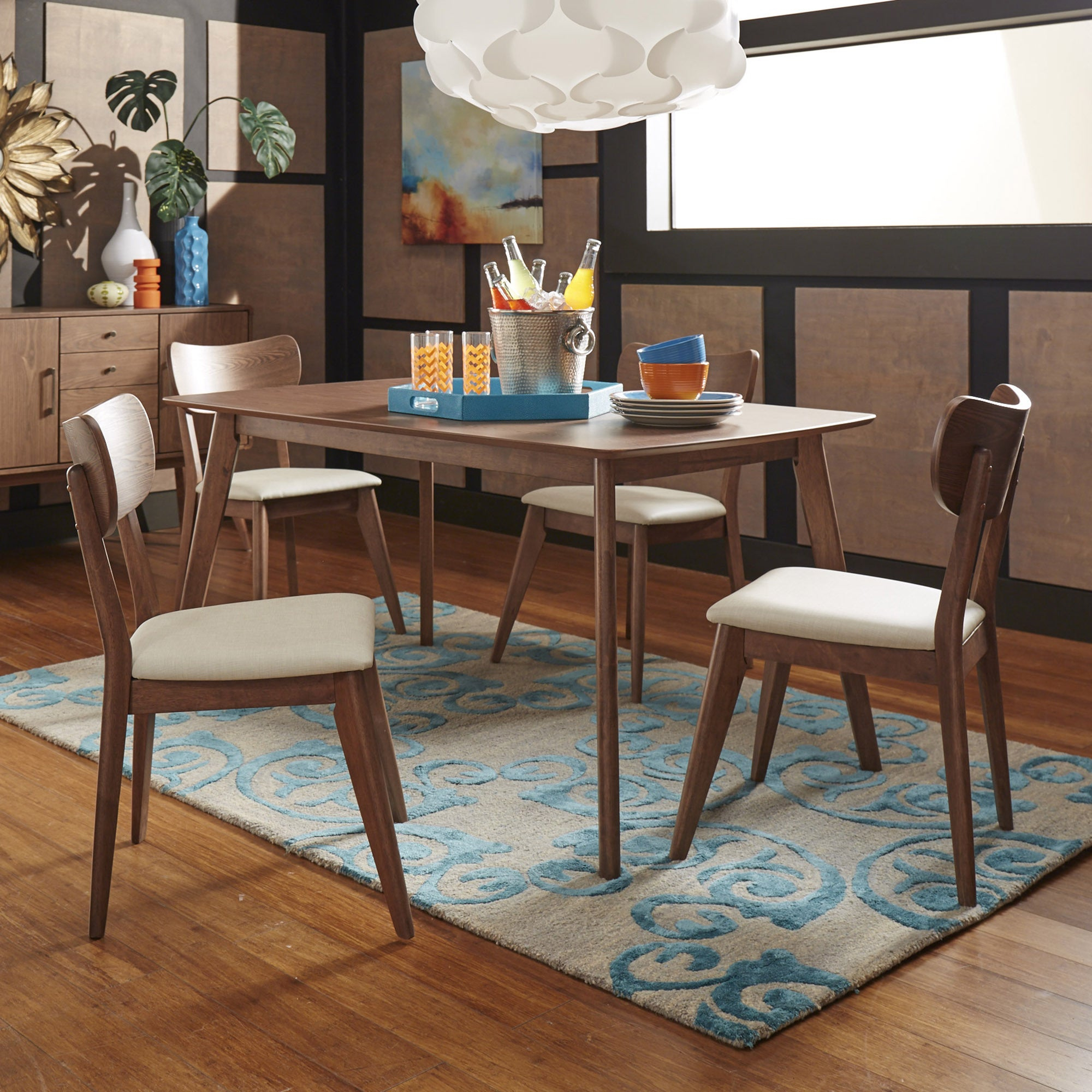 Penelope Danish Modern Walnut Dining Setinspire Q Modern For 2017 Penelope 3 Piece Counter Height Wood Dining Sets (View 9 of 20)