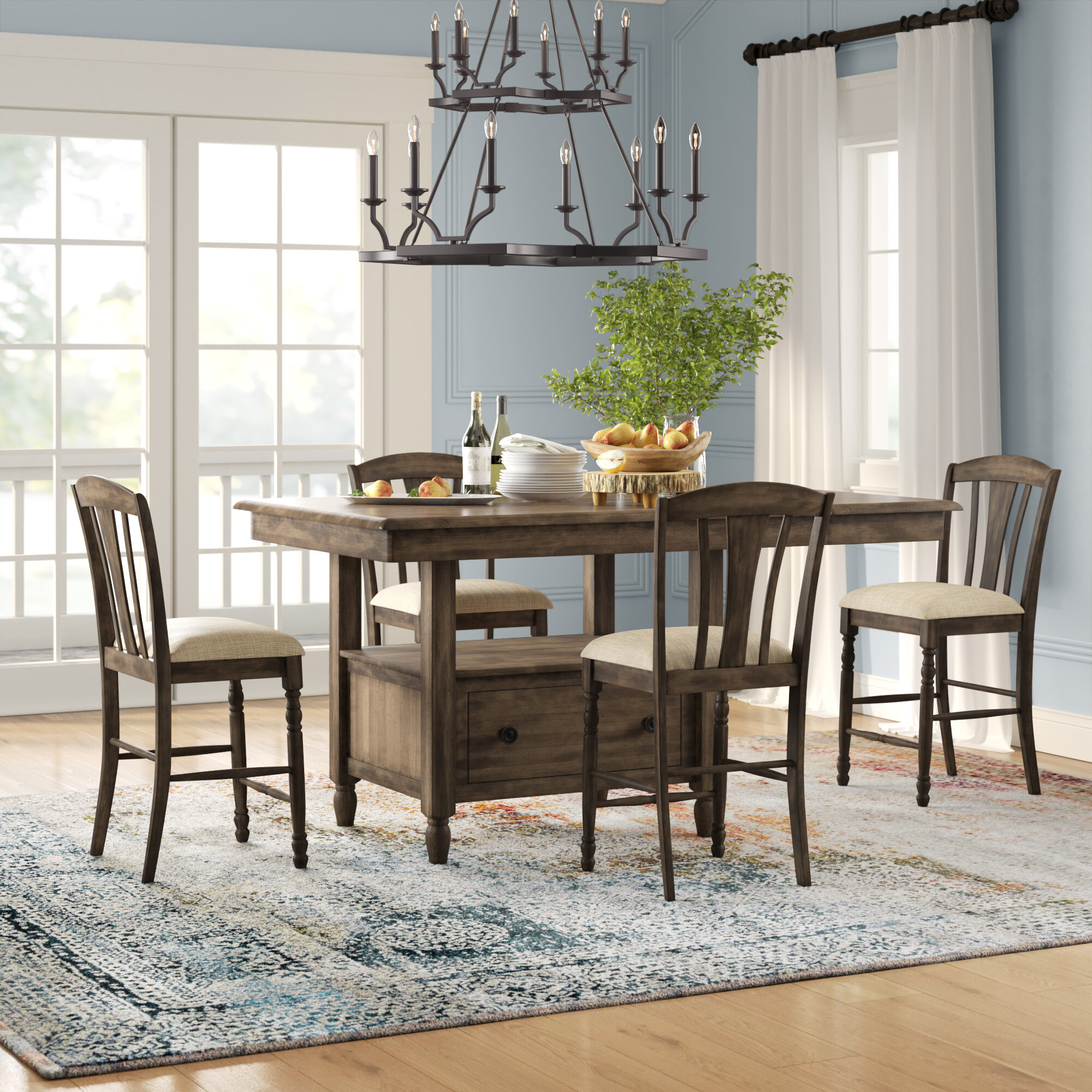 Perez 5 Piece Solid Wood Breakfast Nook Dining Set With Latest 5 Piece Breakfast Nook Dining Sets (View 8 of 20)