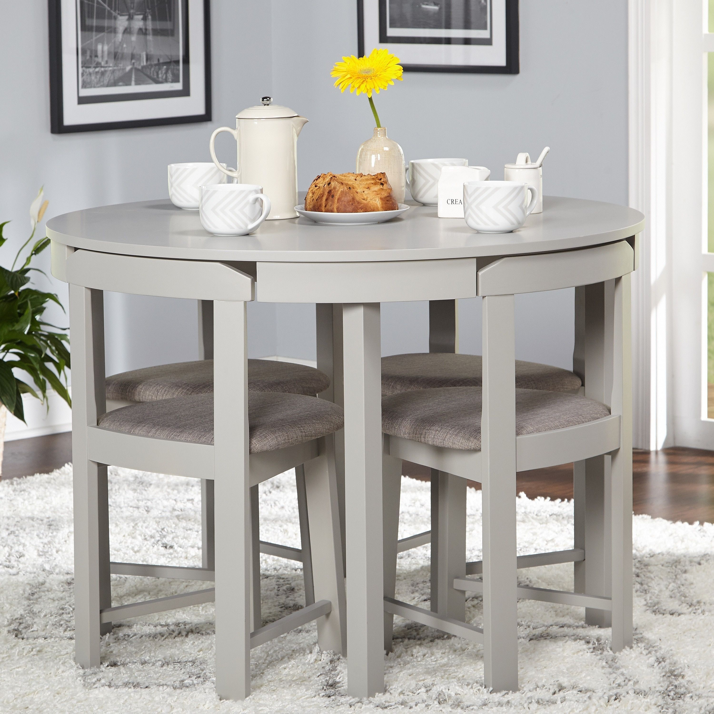 Perfect For Smaller Spaces The 5 Piece Tobey Compact Dining Set For Most Up To Date Berrios 3 Piece Counter Height Dining Sets (View 12 of 20)