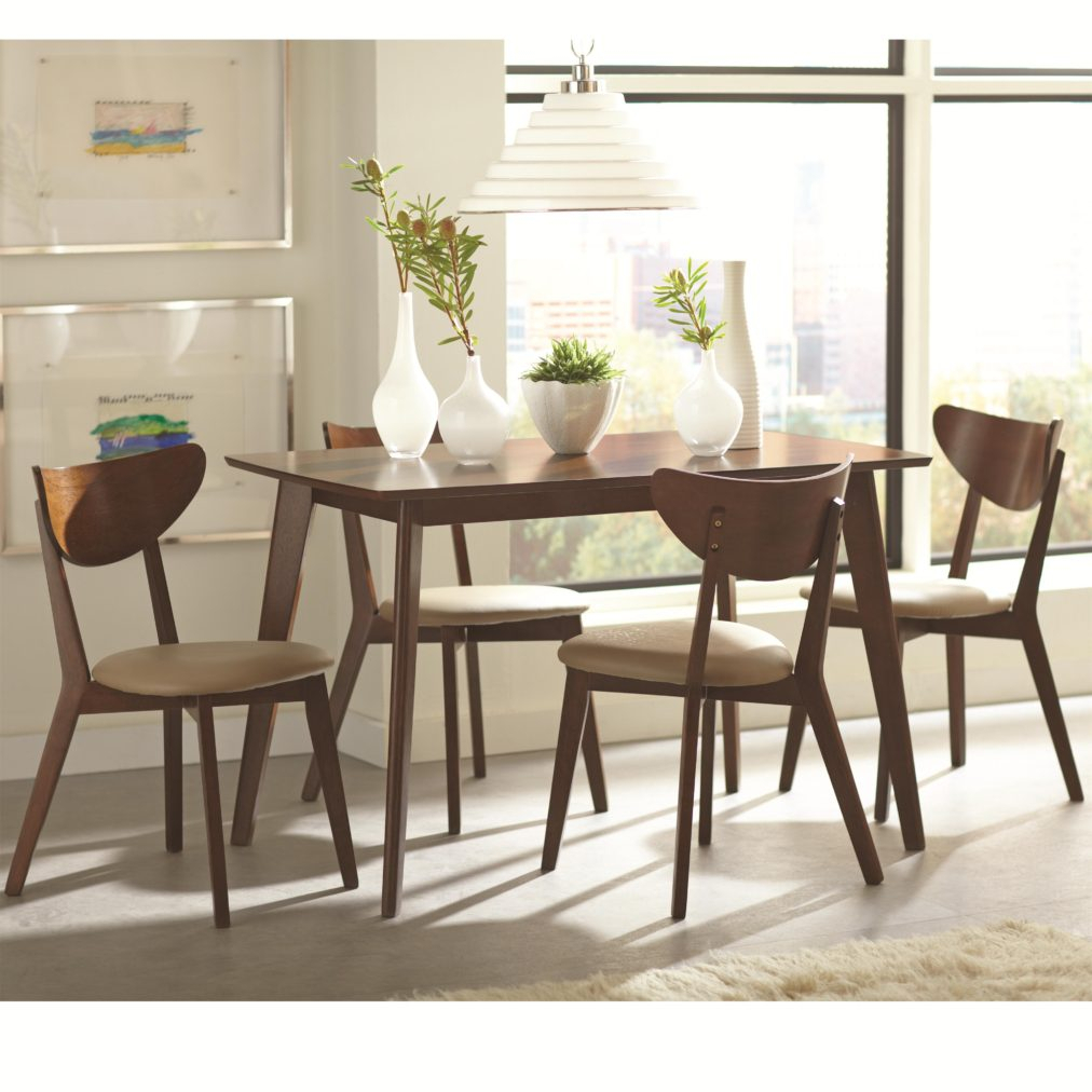 Piece Dining Set With Angled Legscoaster At Room Table Sets With Regard To Recent Linette 5 Piece Dining Table Sets (View 19 of 20)