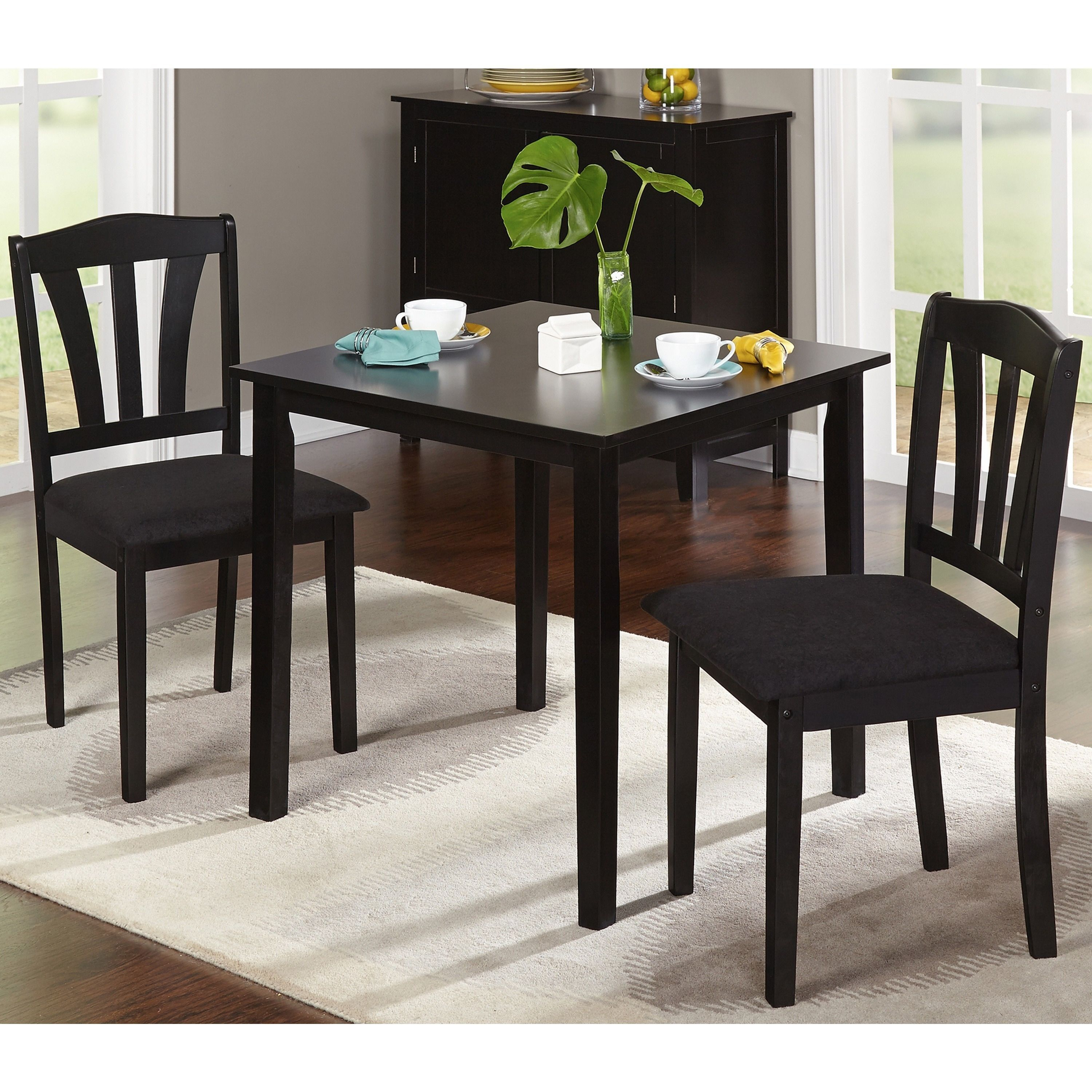 Porch & Den Third Ward Michigan 3 Piece Dining Set (Black Wood With Regard To Most Up To Date Baillie 3 Piece Dining Sets (Image 16 of 20)