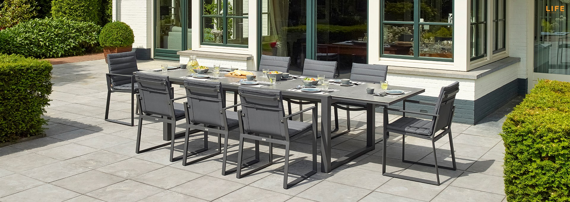 Primavera Dining Extendable Lava – Life Outdoor Living In Recent Osterman 6 Piece Extendable Dining Sets (Set Of 6) (Image 14 of 20)