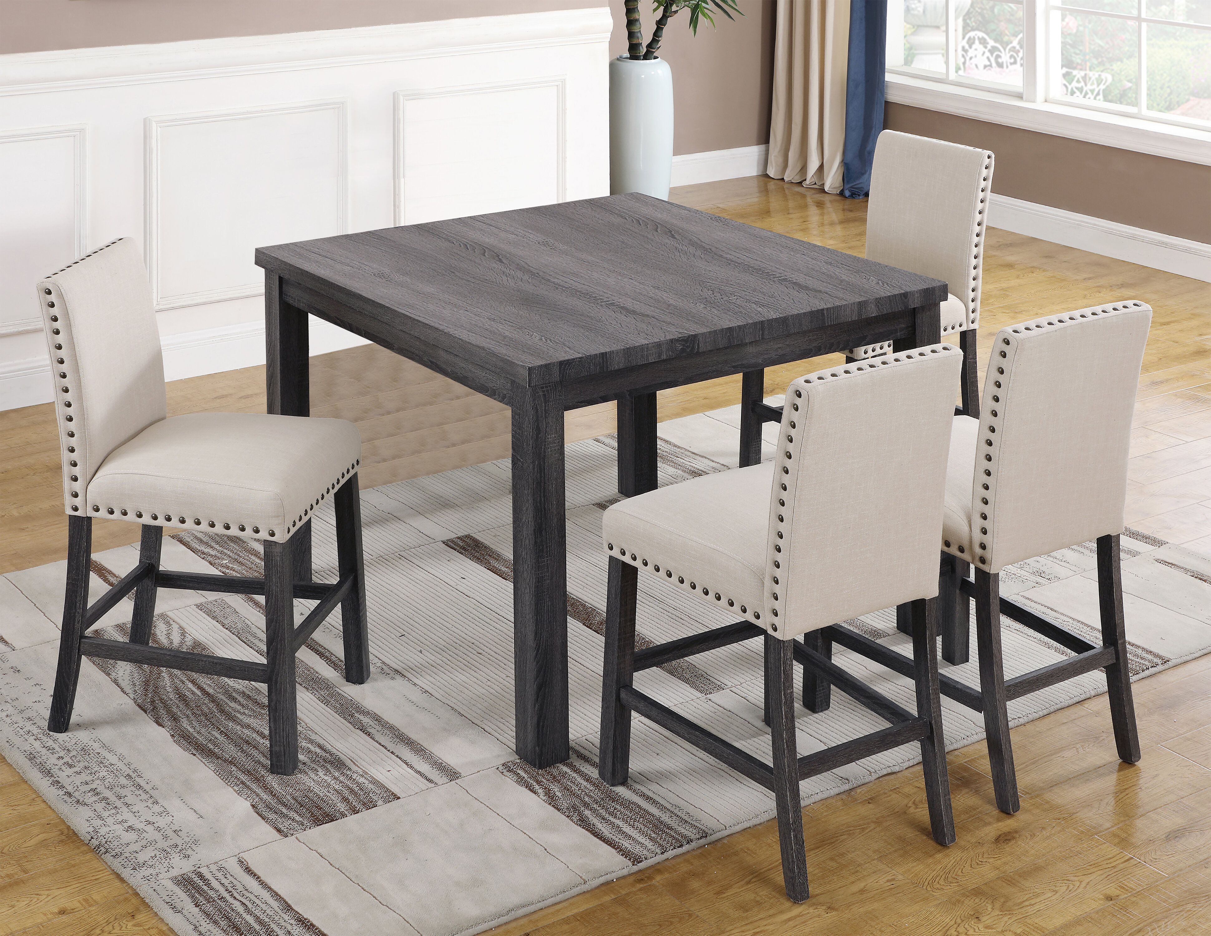 Ralston 5 Piece Counter Height Dining Set Intended For 2018 Queener 5 Piece Dining Sets (Photo 9 of 20)