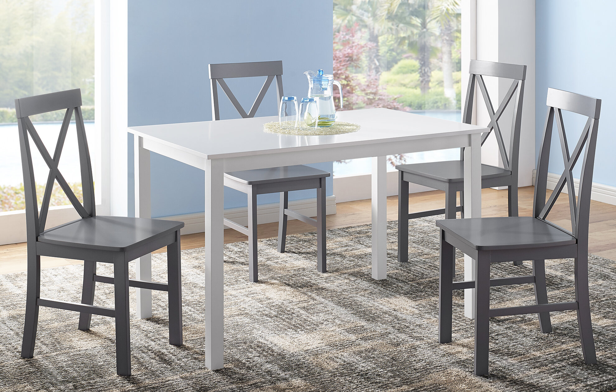 Rarick 5 Piece Solid Wood Dining Set In Best And Newest Turnalar 5 Piece Dining Sets (View 12 of 20)